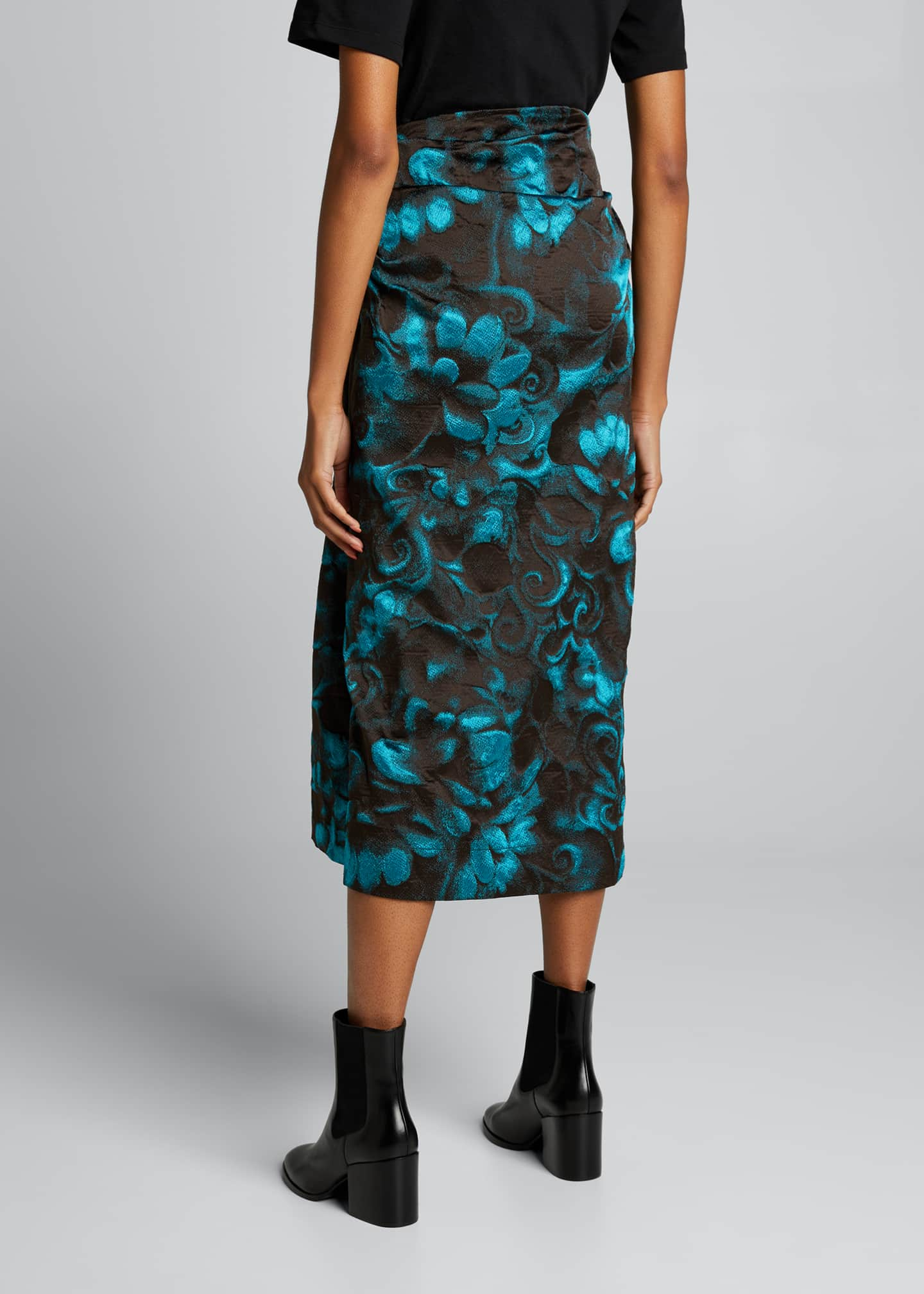 Image 2 of 5: Floral Jacquard Side Ruched Midi Skirt