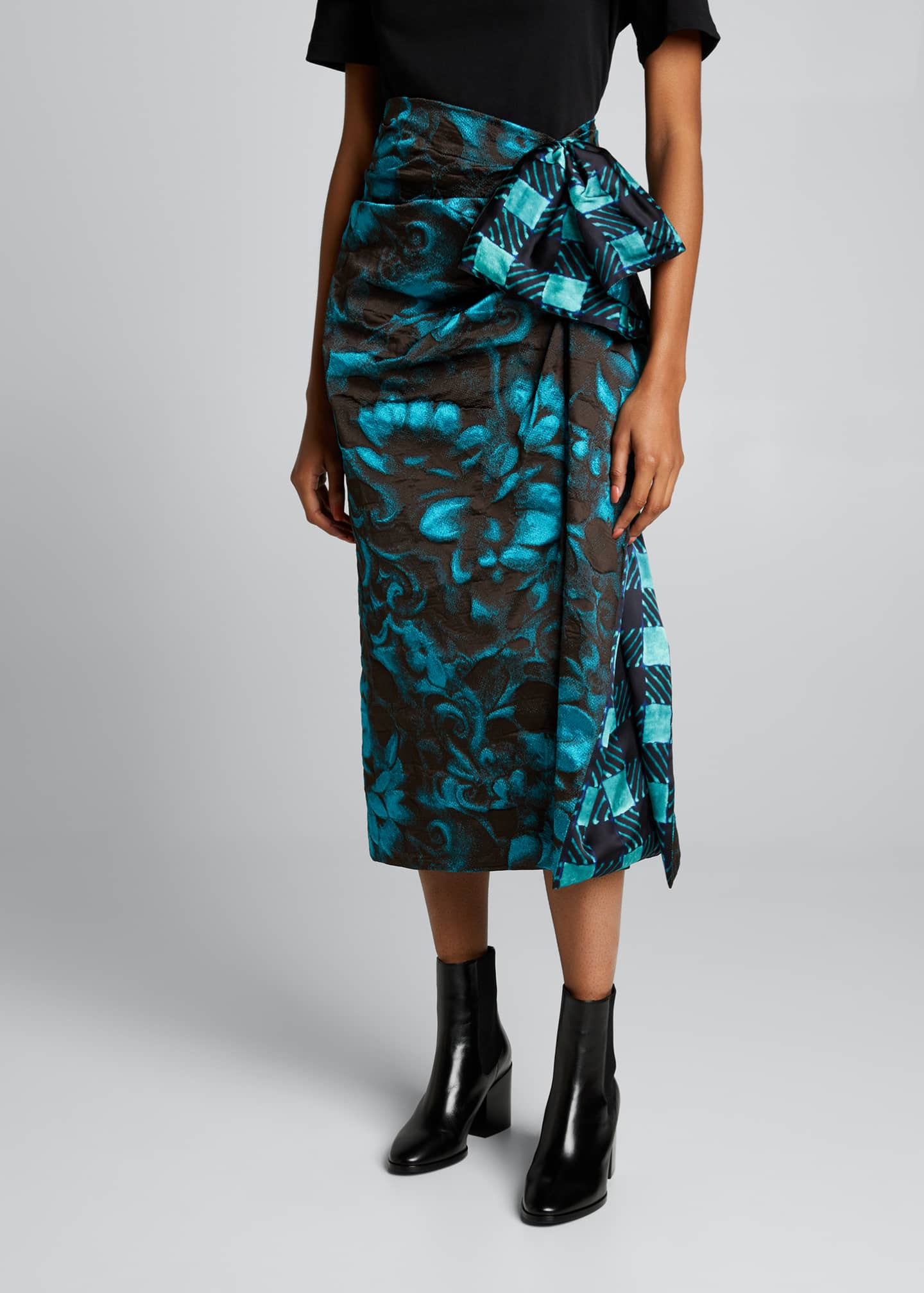 Image 3 of 5: Floral Jacquard Side Ruched Midi Skirt