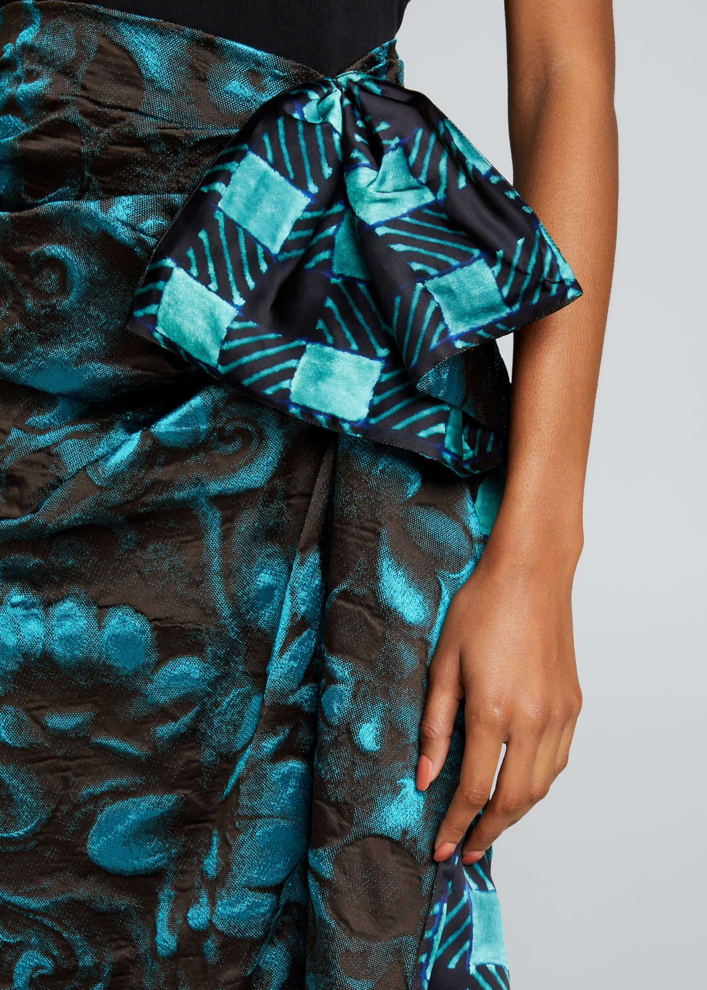 Image 4 of 5: Floral Jacquard Side Ruched Midi Skirt