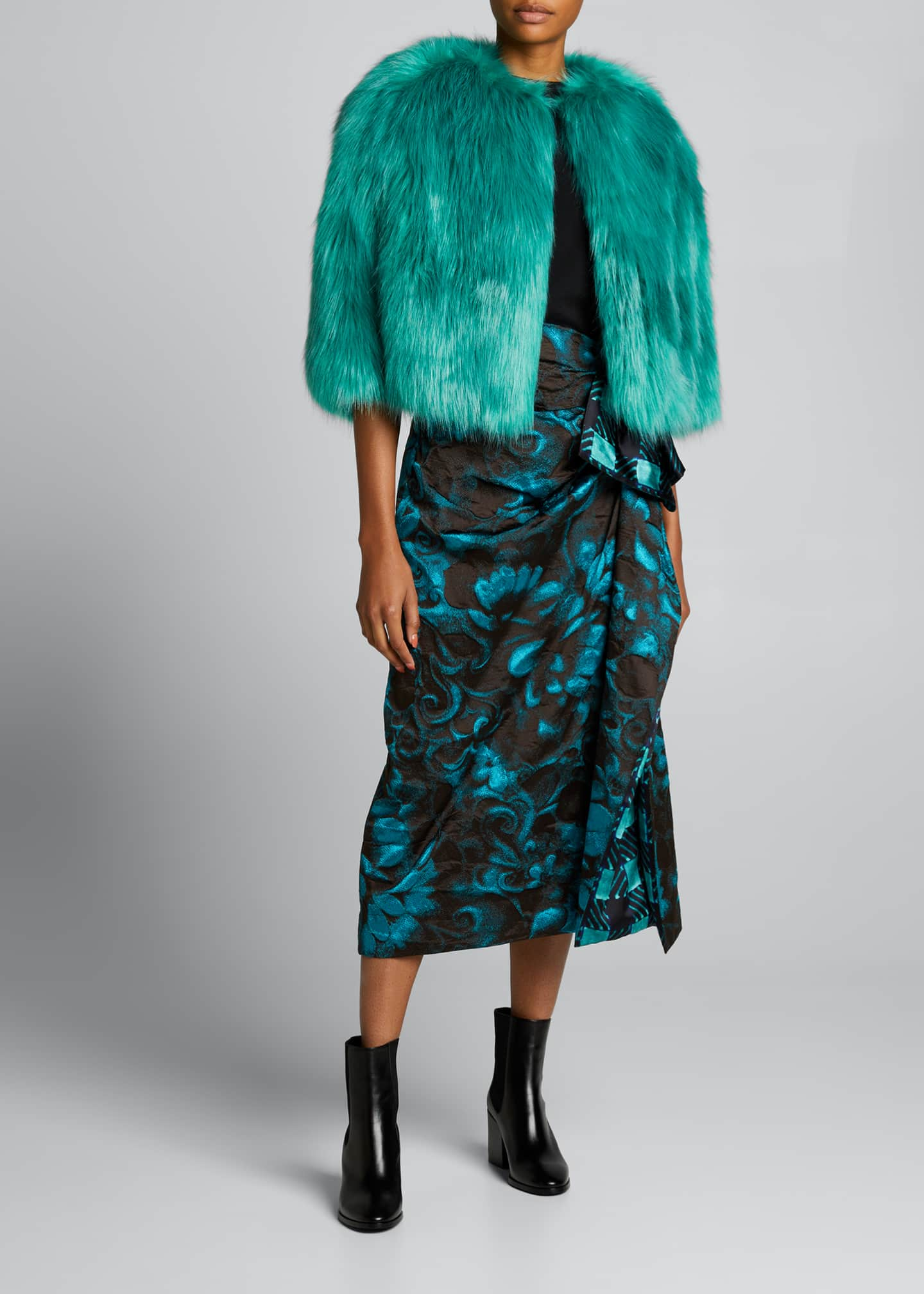 Image 1 of 5: Floral Jacquard Side Ruched Midi Skirt