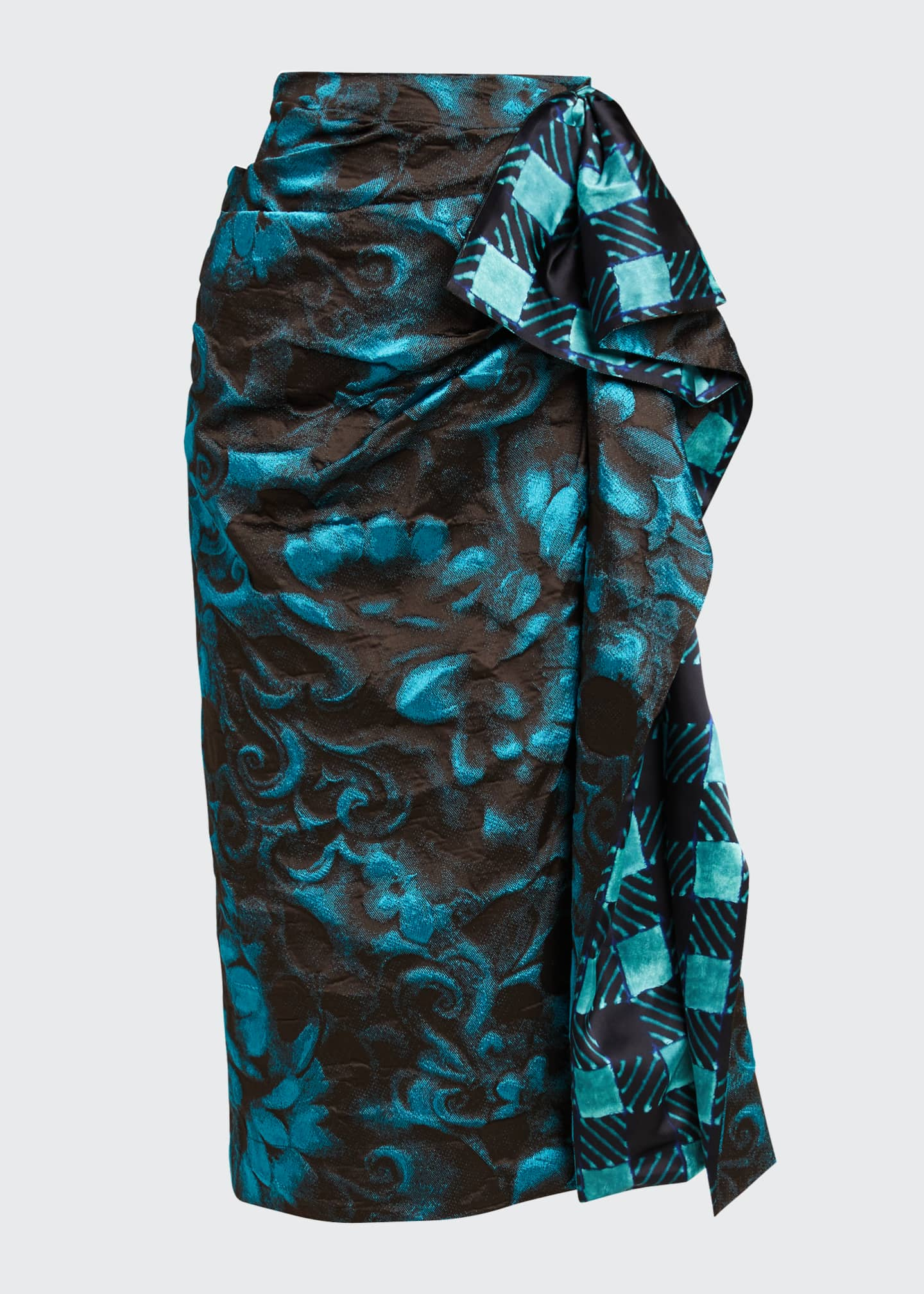 Image 5 of 5: Floral Jacquard Side Ruched Midi Skirt