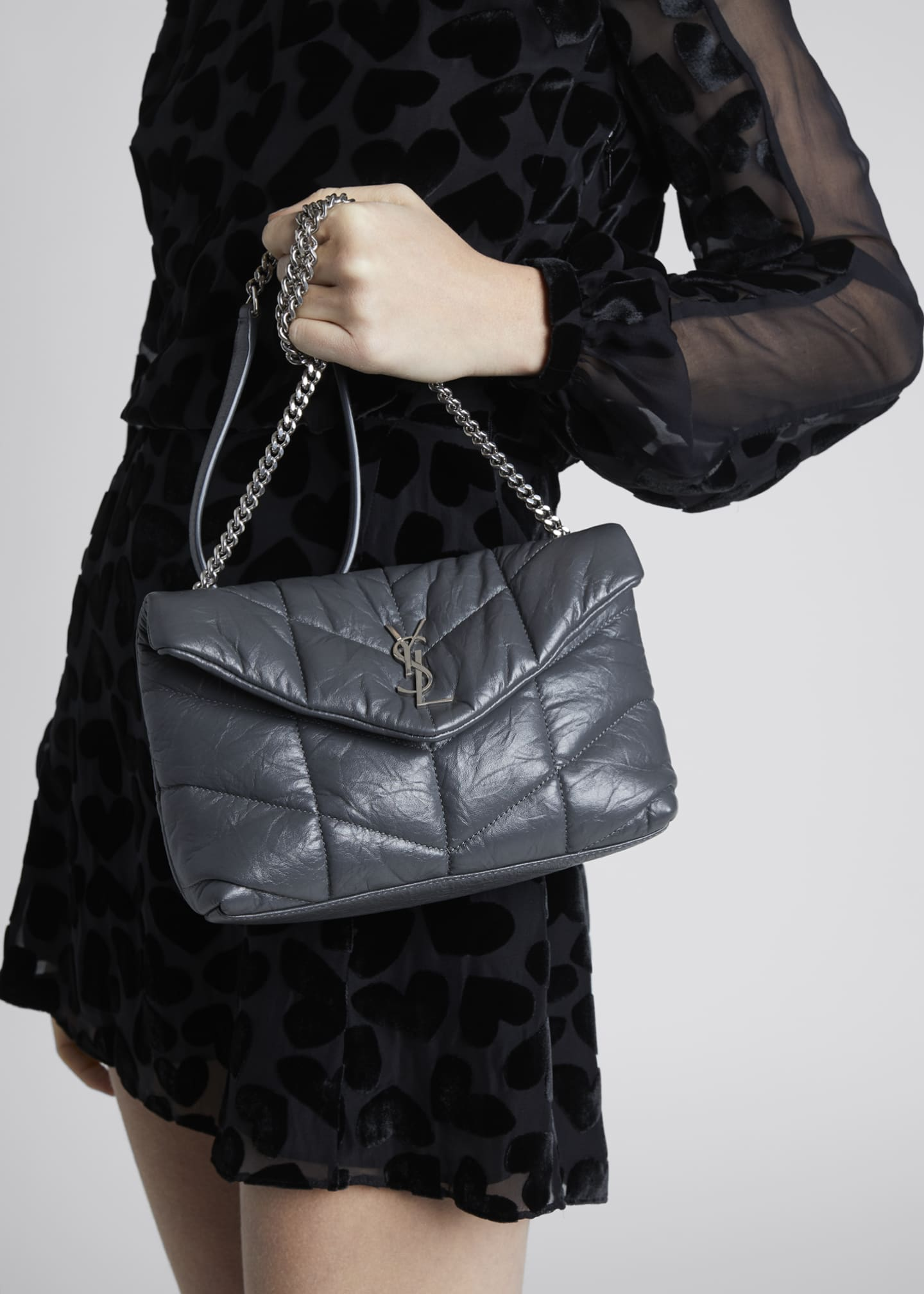 Image 2 of 5: LouLou Toy YSL Puffer Quilted Matte Leather Crossbody Bag