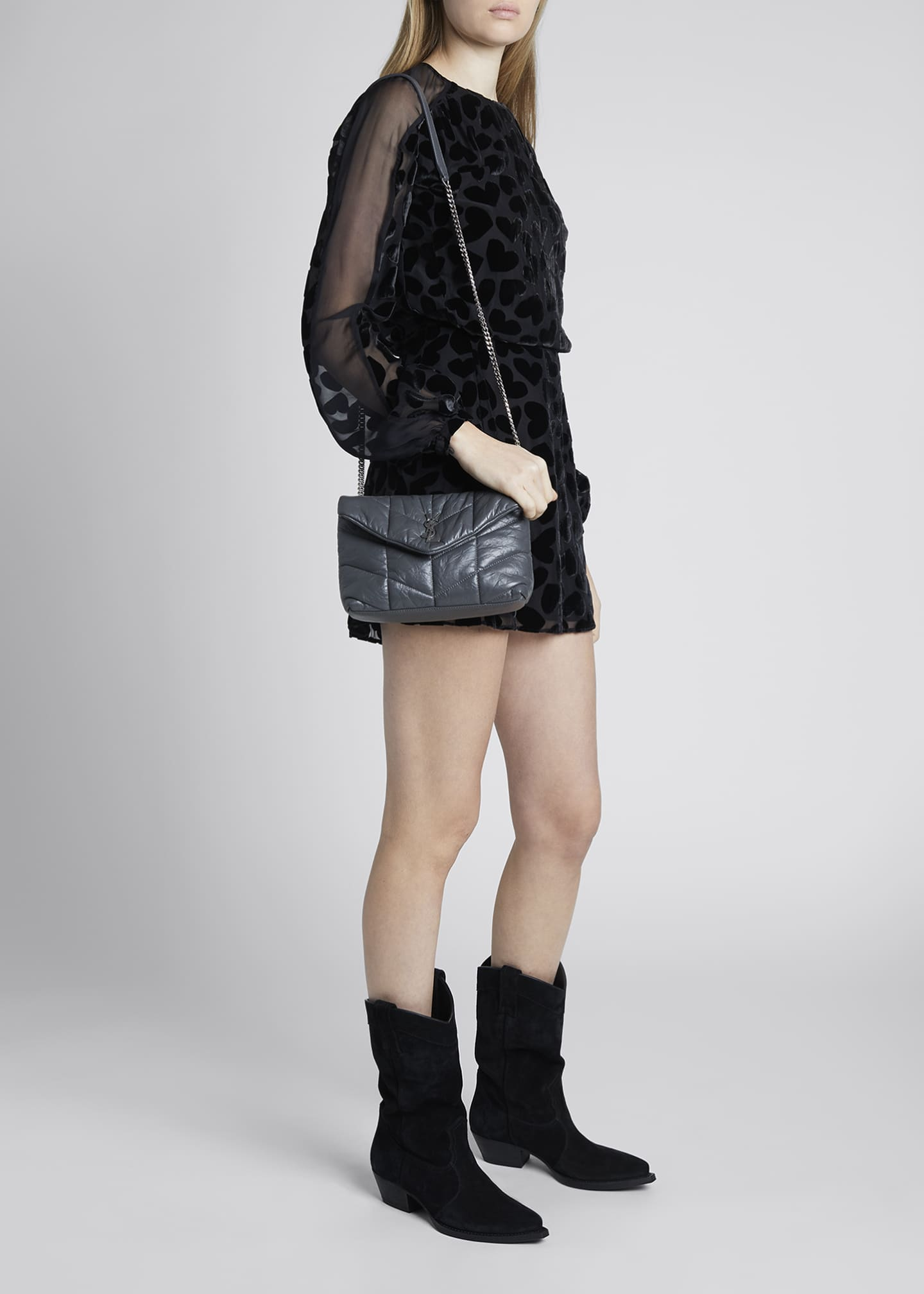 Image 5 of 5: LouLou Toy YSL Puffer Quilted Matte Leather Crossbody Bag