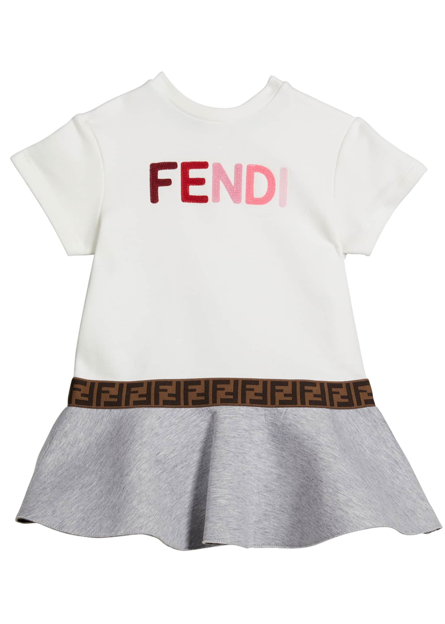 Image 1 of 2: Girl's Short-Sleeve Multicolor Logo Dress, Size 12-24M