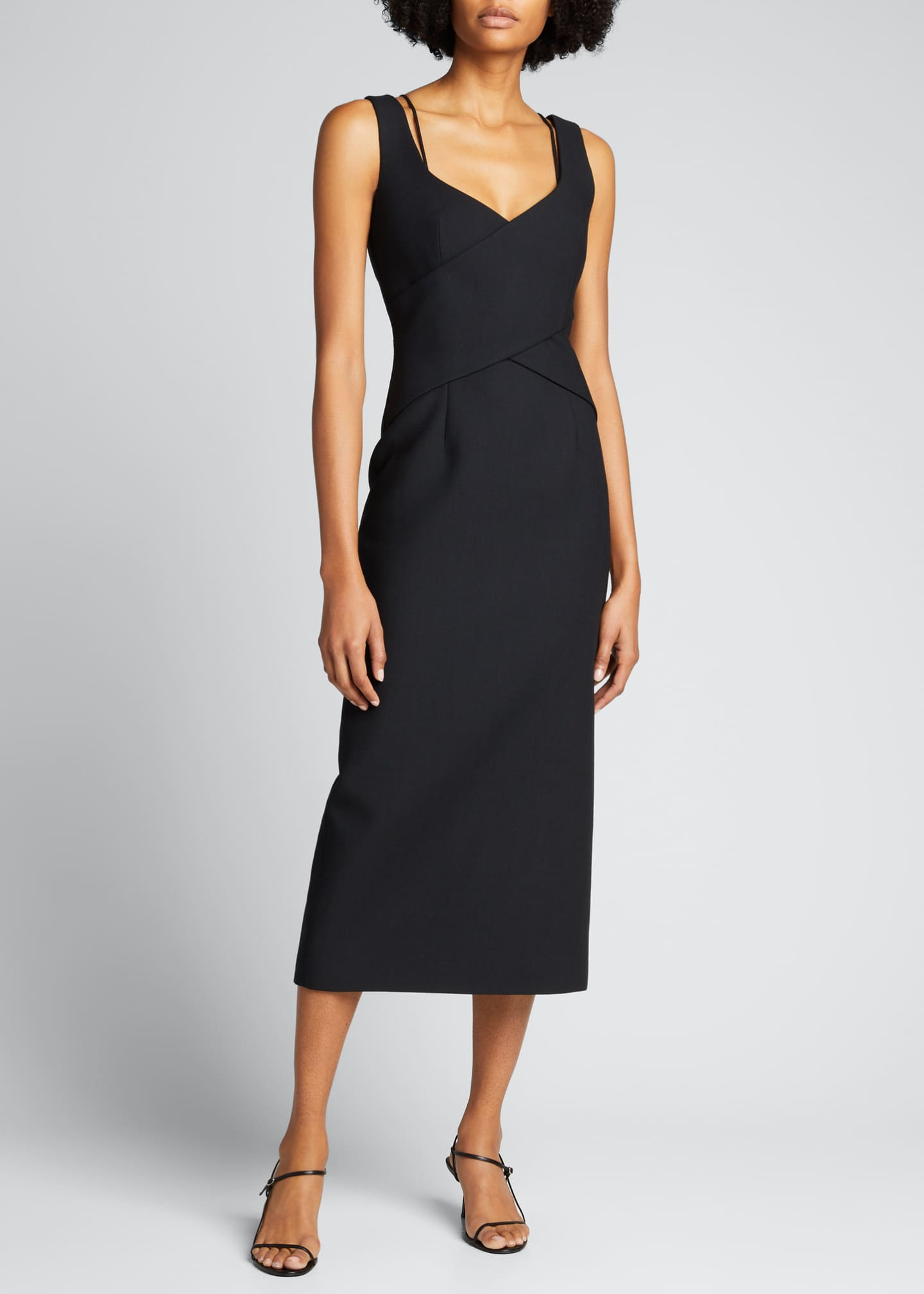 Image 3 of 5: Crisscross Fitted Midi Dress