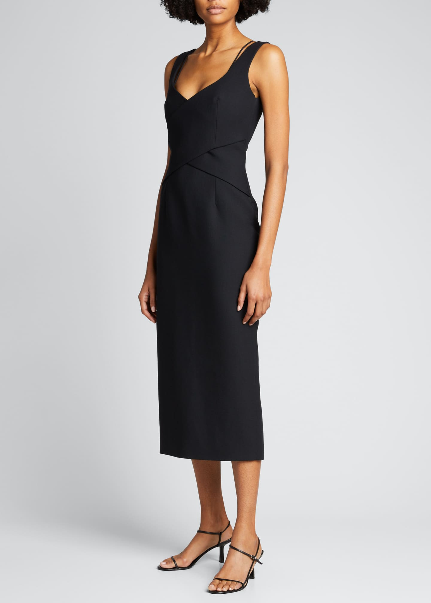 Image 1 of 5: Crisscross Fitted Midi Dress