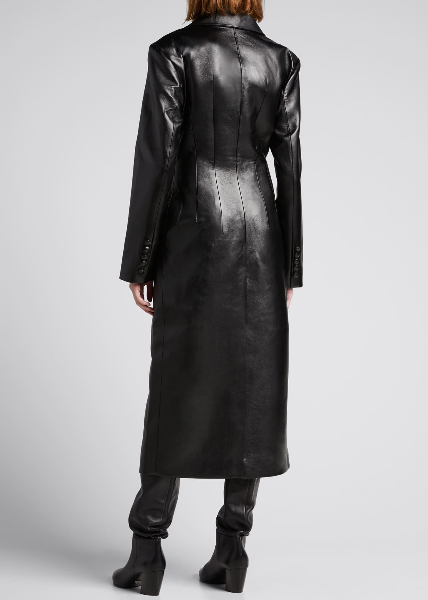 Image 2 of 4: Faux-Leather Long Coat with Crossover Detail