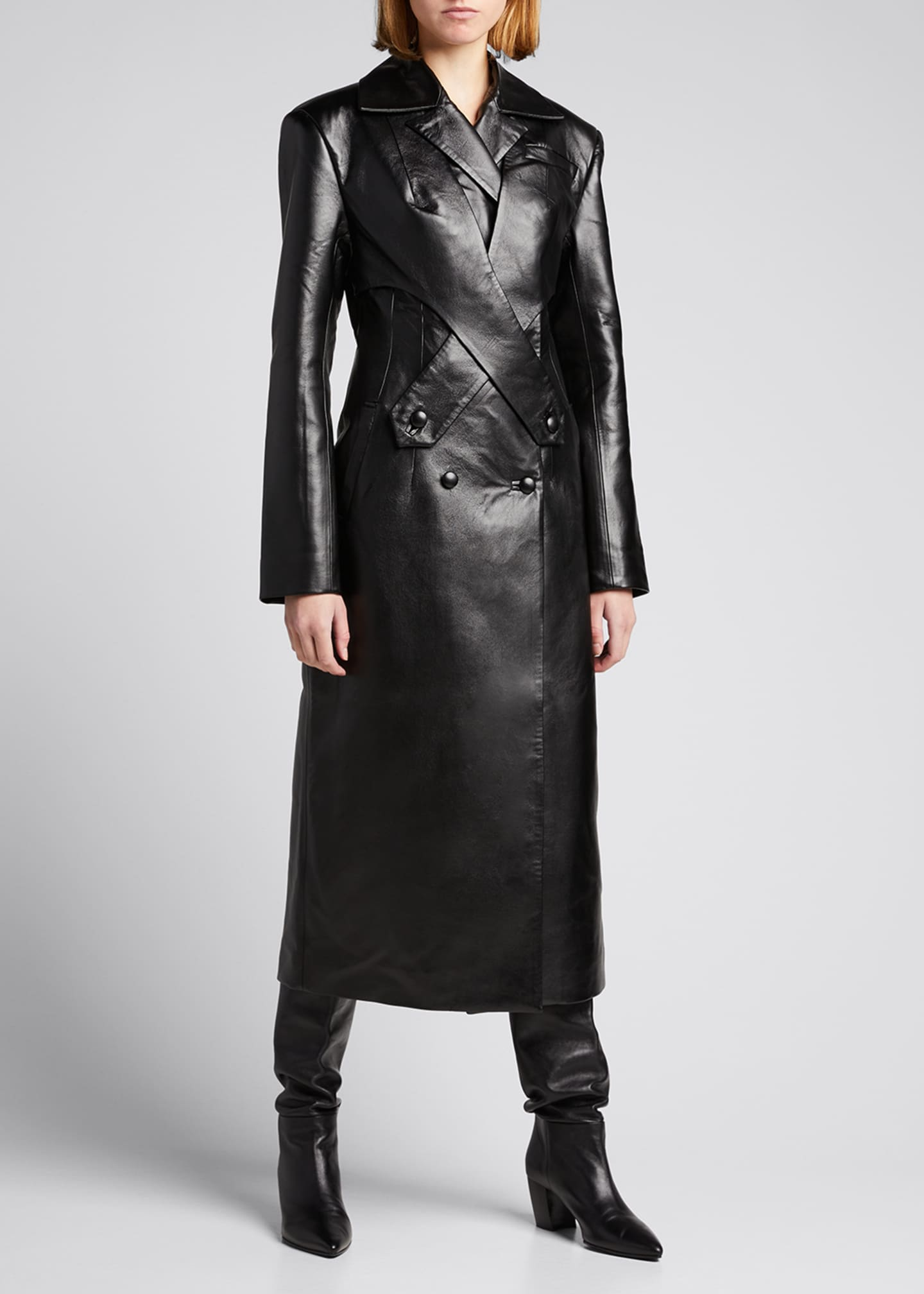 Image 3 of 4: Faux-Leather Long Coat with Crossover Detail
