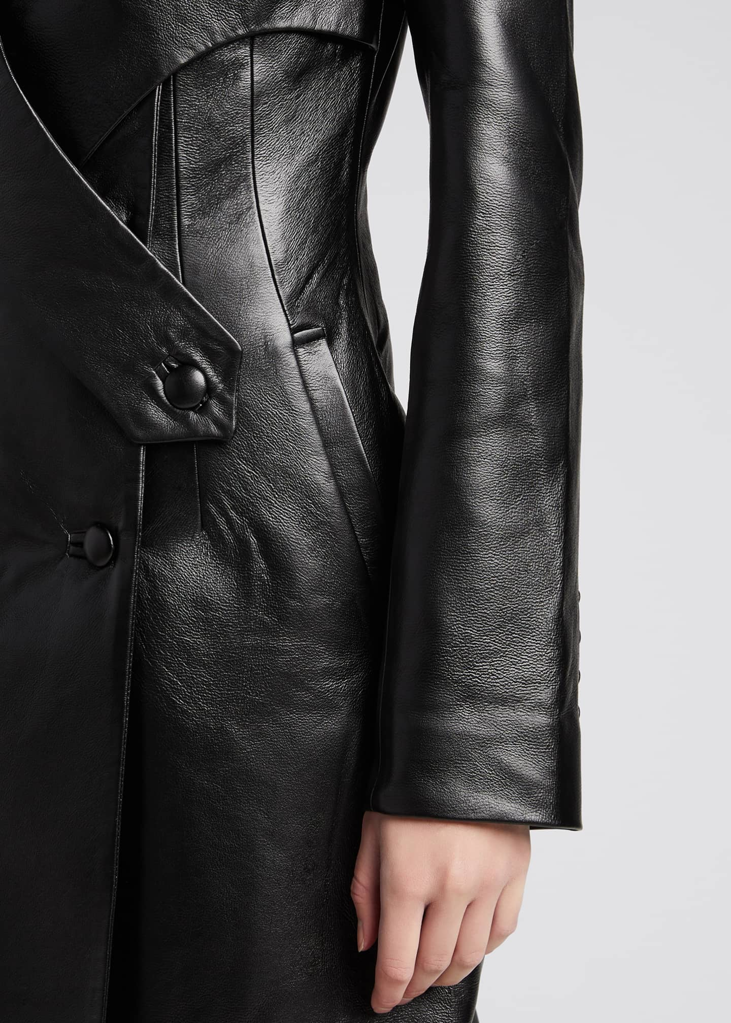 Image 4 of 4: Faux-Leather Long Coat with Crossover Detail