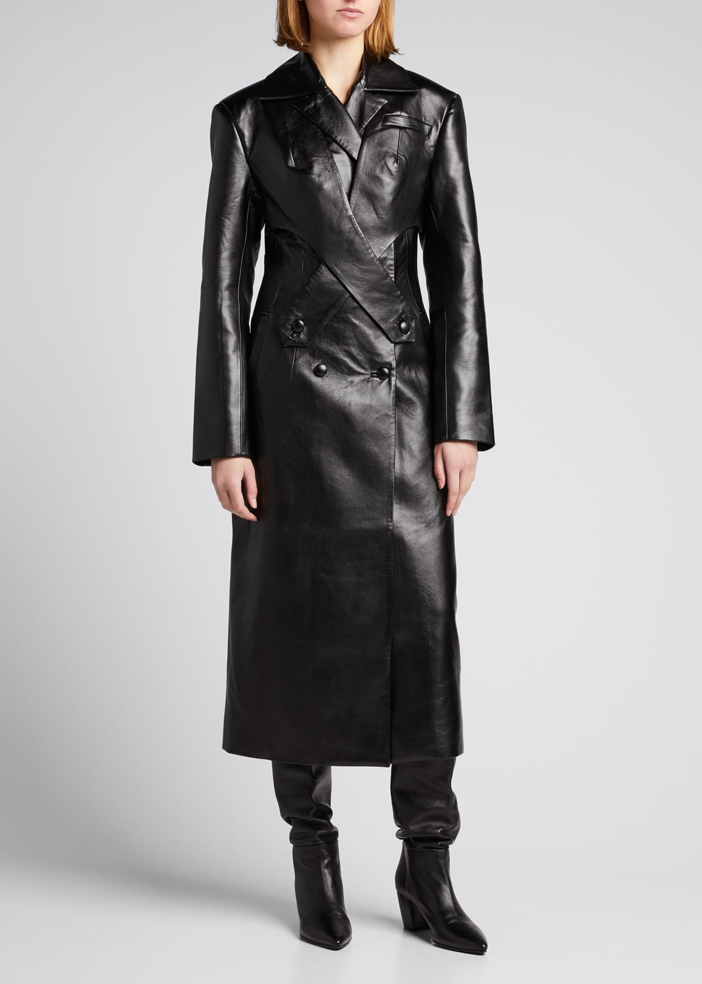 Image 1 of 4: Faux-Leather Long Coat with Crossover Detail