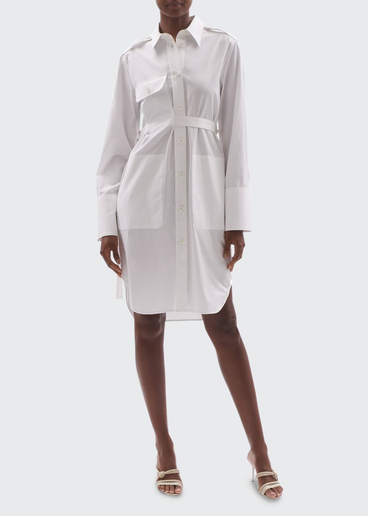 Image 1 of 3: Cotton Shirtdress with Belt