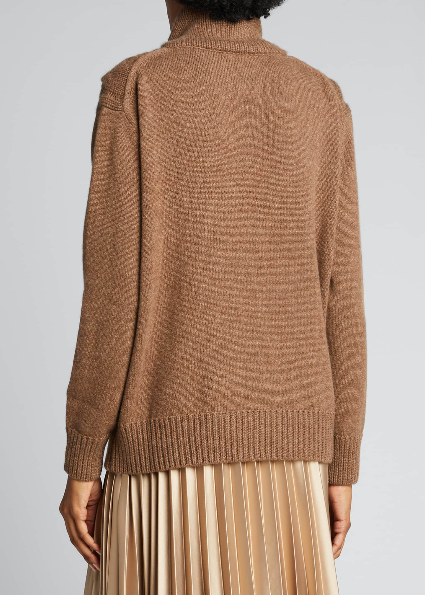 Image 2 of 4: Cashmere Cable-Knit Funnel-Neck Sweater