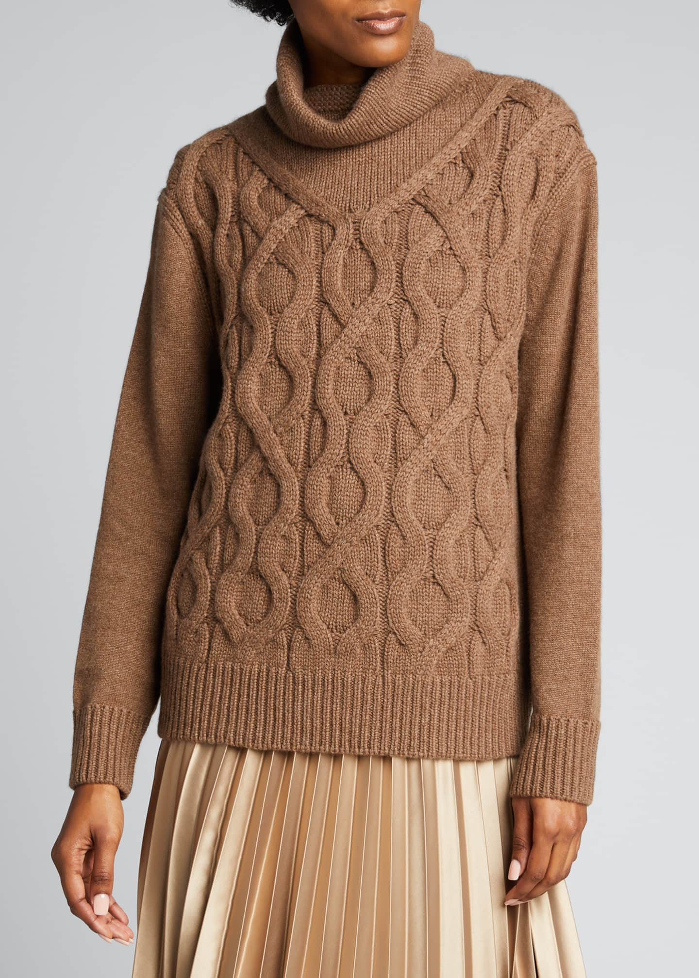 Image 3 of 4: Cashmere Cable-Knit Funnel-Neck Sweater