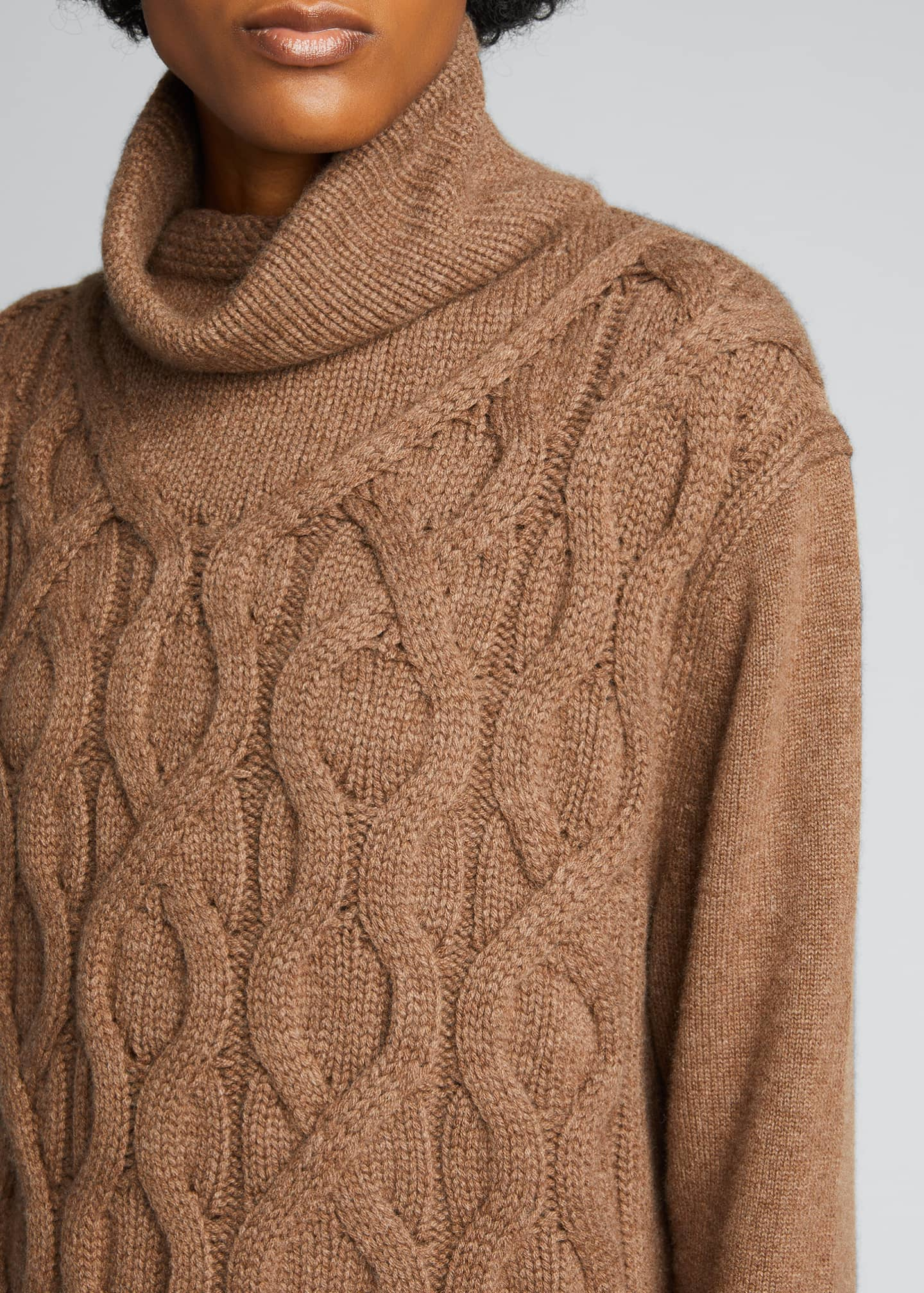Image 4 of 4: Cashmere Cable-Knit Funnel-Neck Sweater