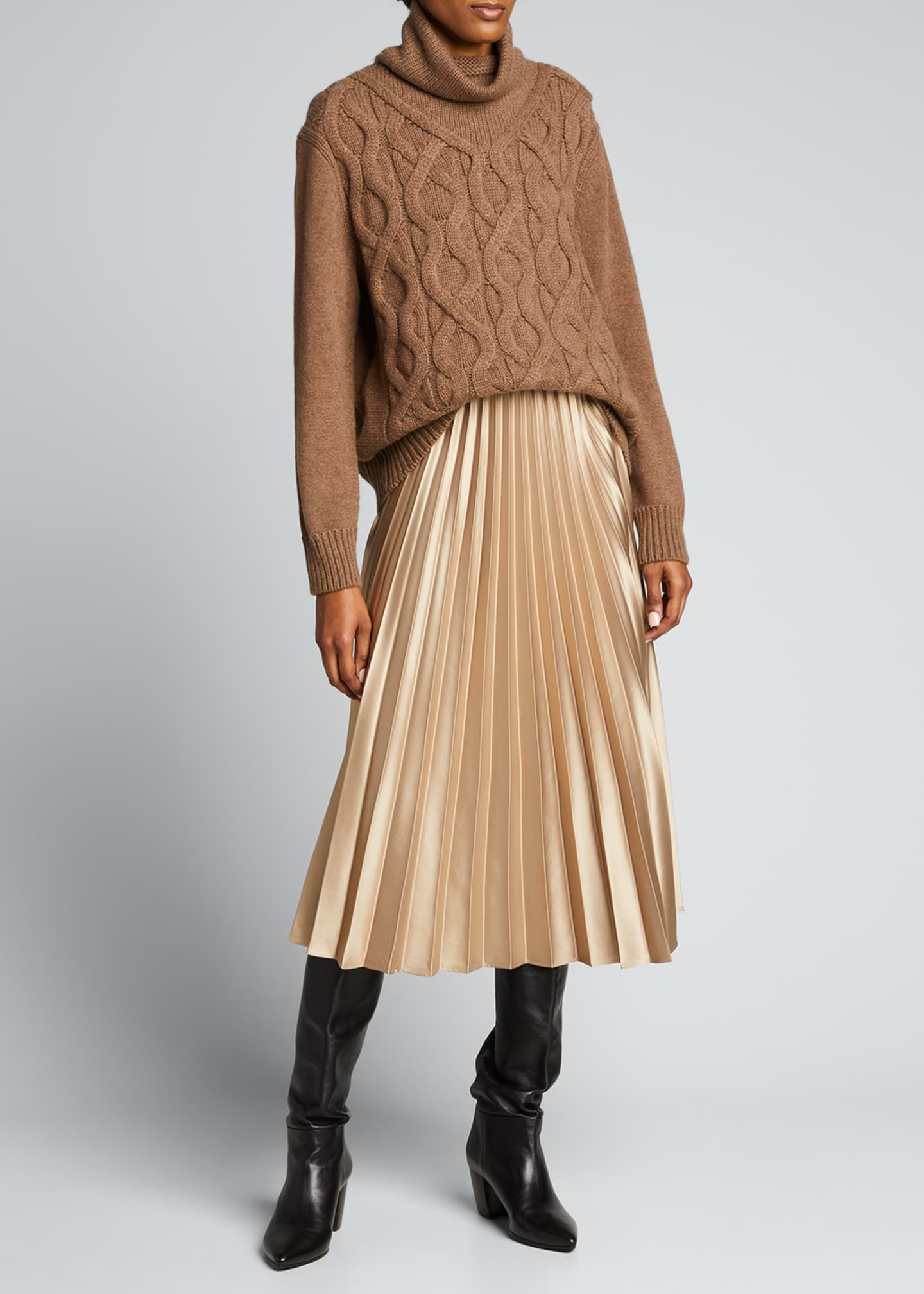 Image 1 of 4: Cashmere Cable-Knit Funnel-Neck Sweater