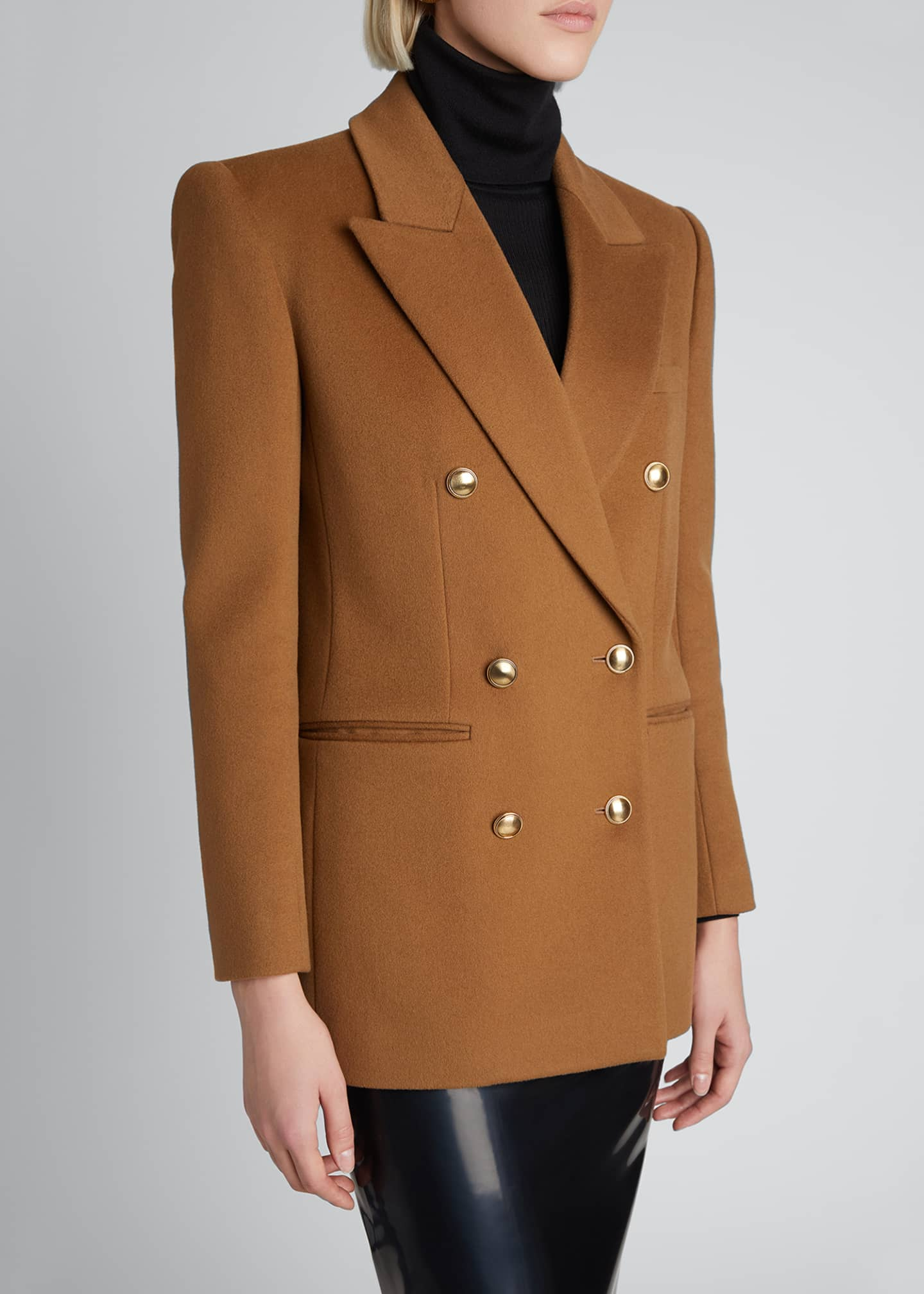 Image 4 of 4: Double-Breasted Wool-Cashmere Outerwear Blazer