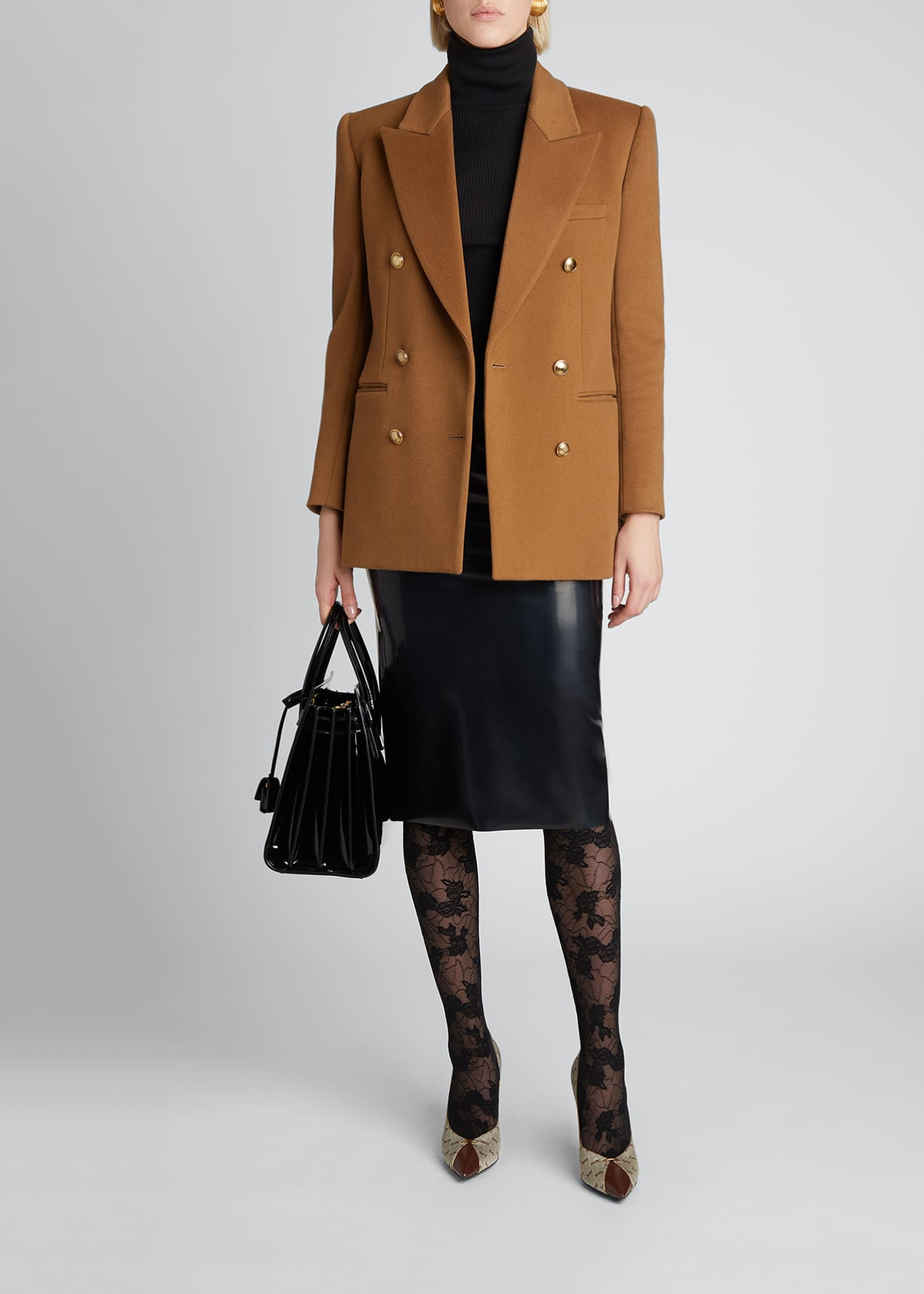 Image 1 of 4: Double-Breasted Wool-Cashmere Outerwear Blazer