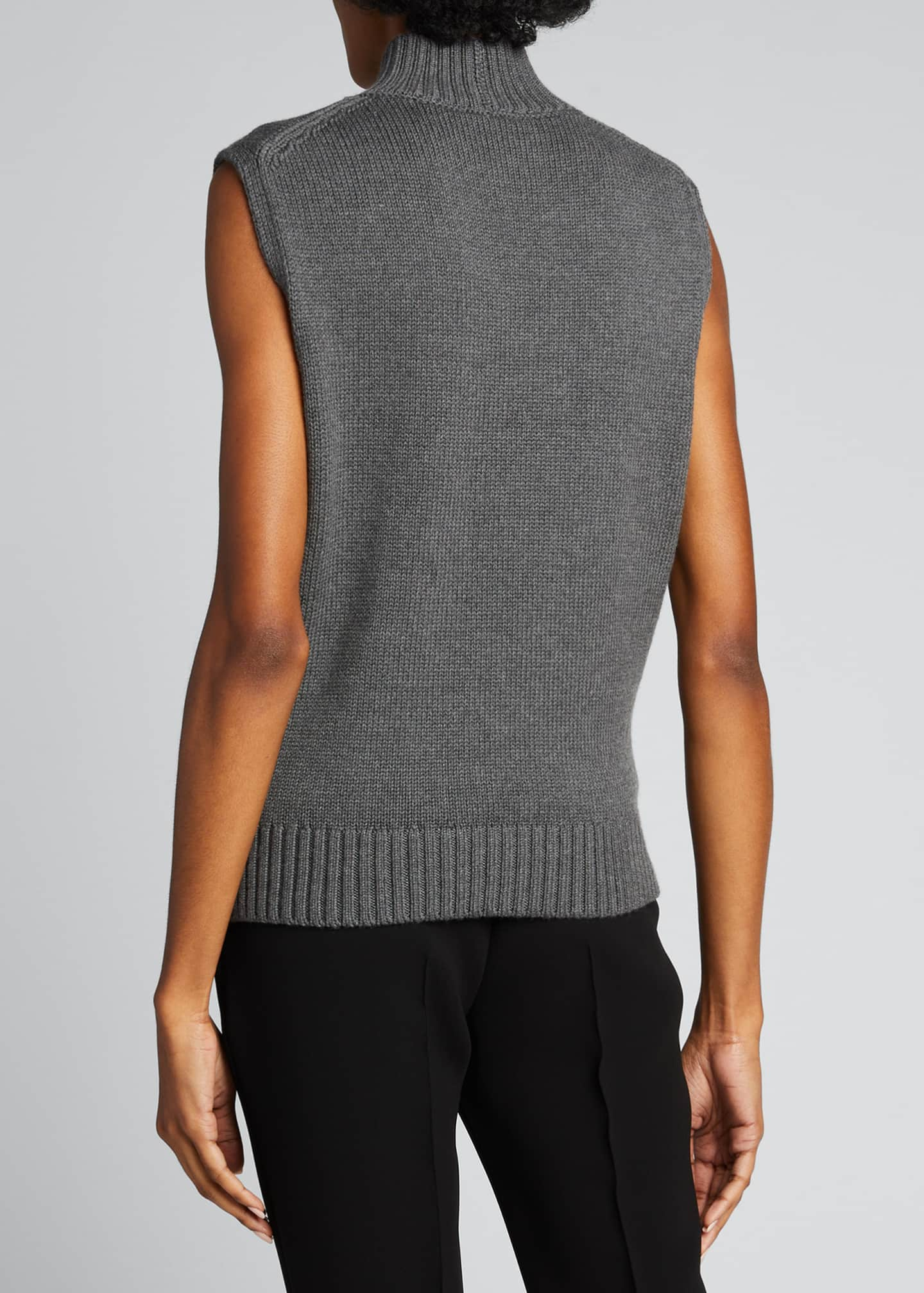 Image 2 of 5: Lofty Italian Virgin Wool Sleeveless Turtleneck Top