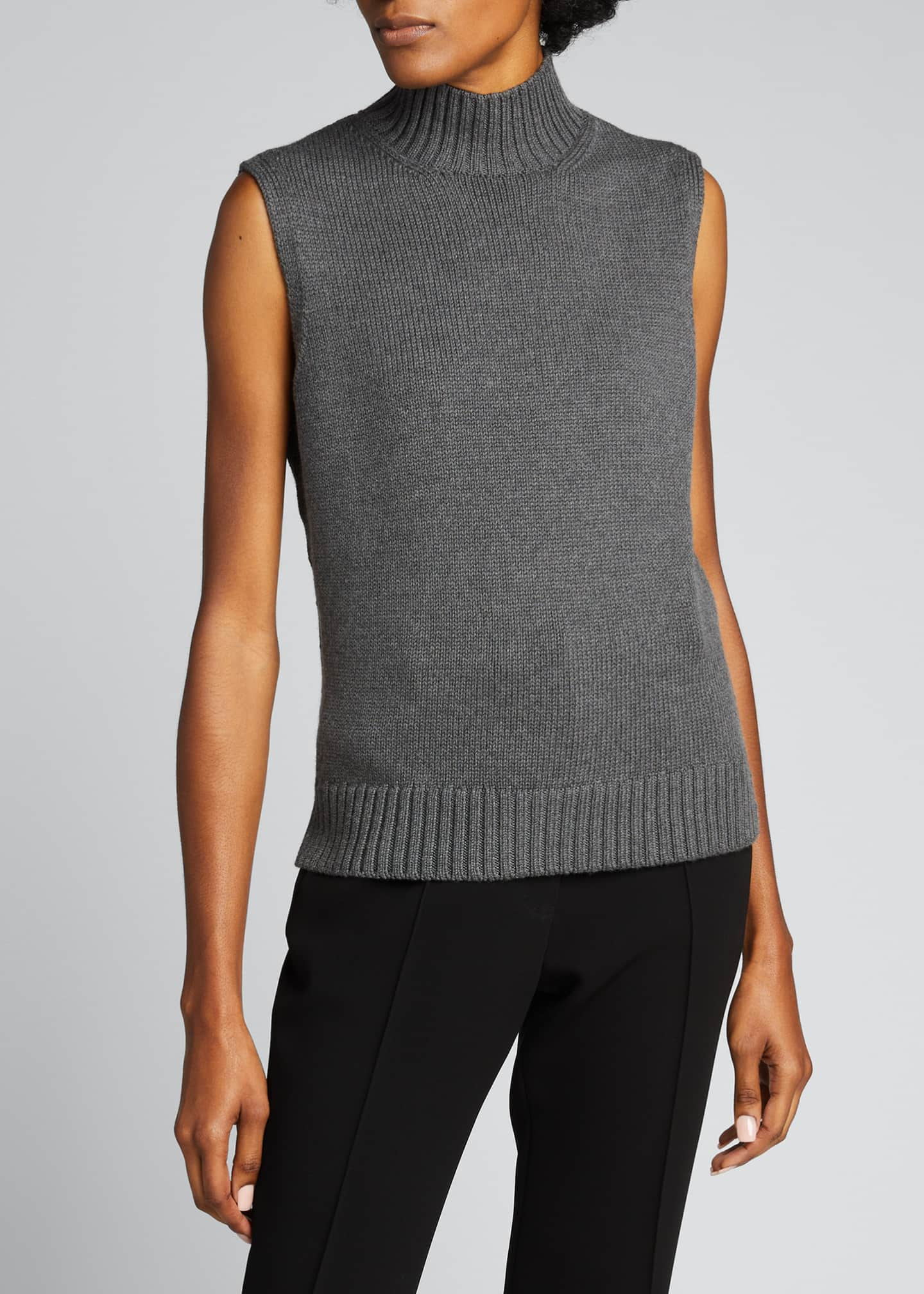 Image 3 of 5: Lofty Italian Virgin Wool Sleeveless Turtleneck Top