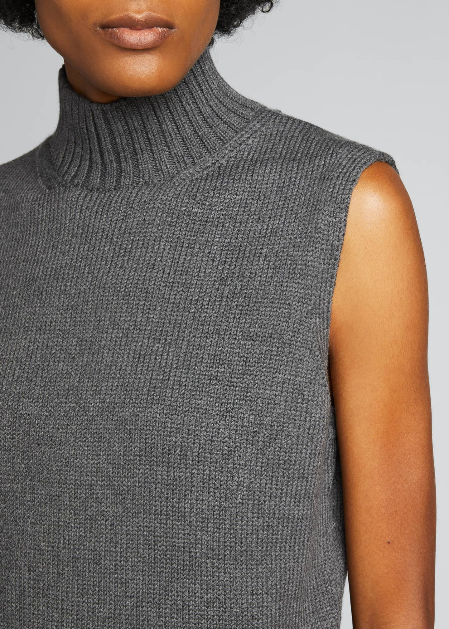 Image 4 of 5: Lofty Italian Virgin Wool Sleeveless Turtleneck Top