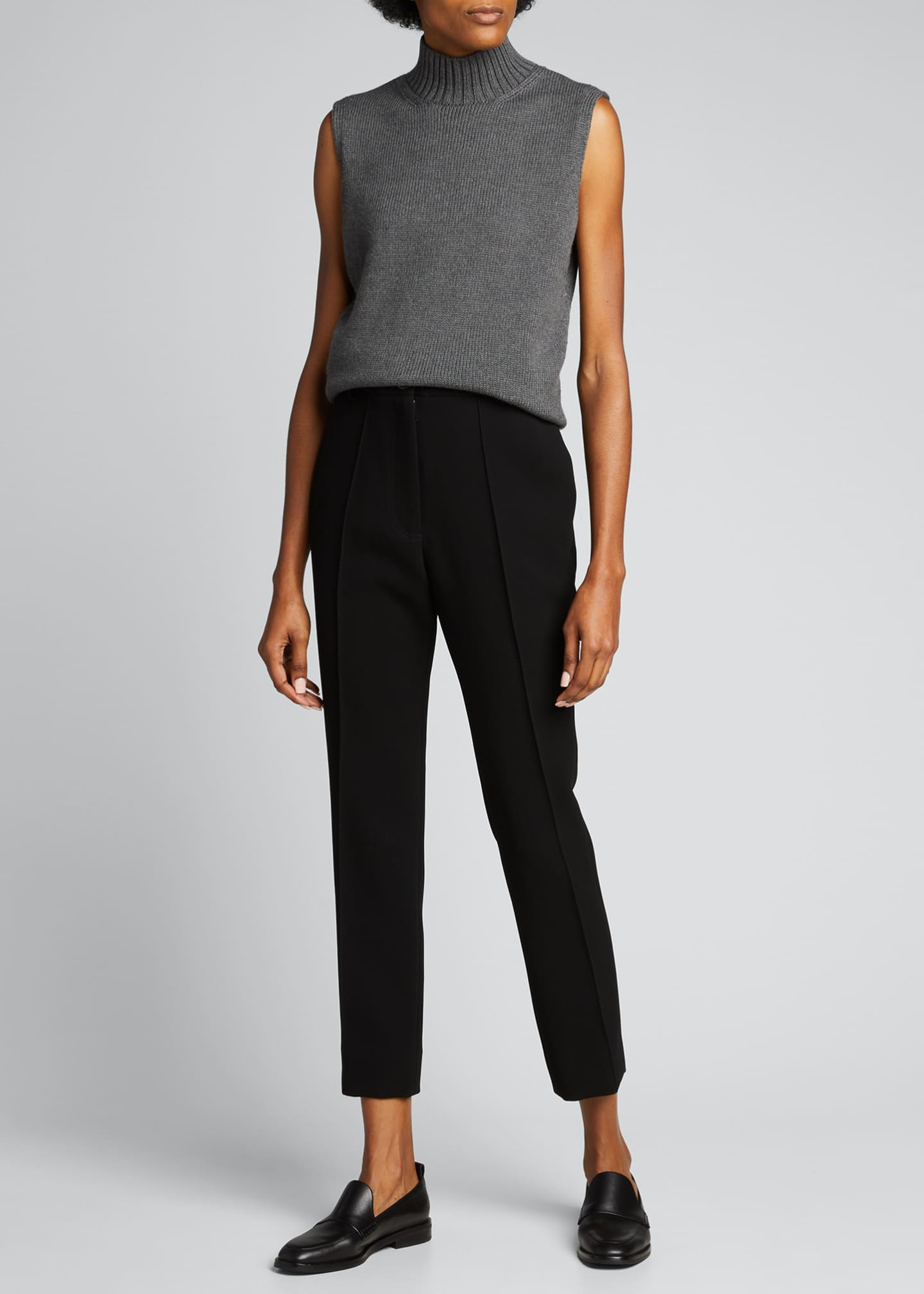 Image 1 of 5: Lofty Italian Virgin Wool Sleeveless Turtleneck Top