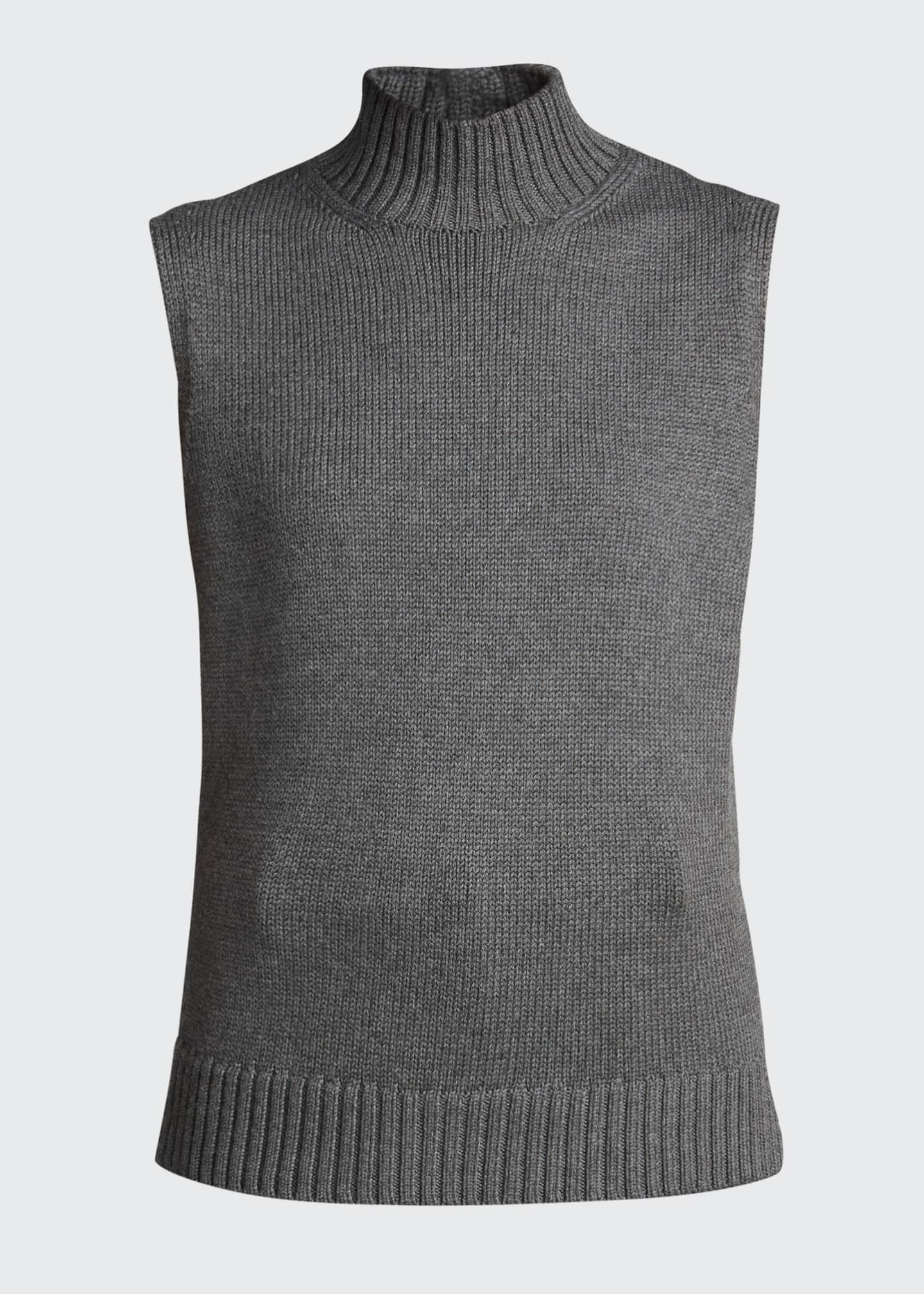 Image 5 of 5: Lofty Italian Virgin Wool Sleeveless Turtleneck Top