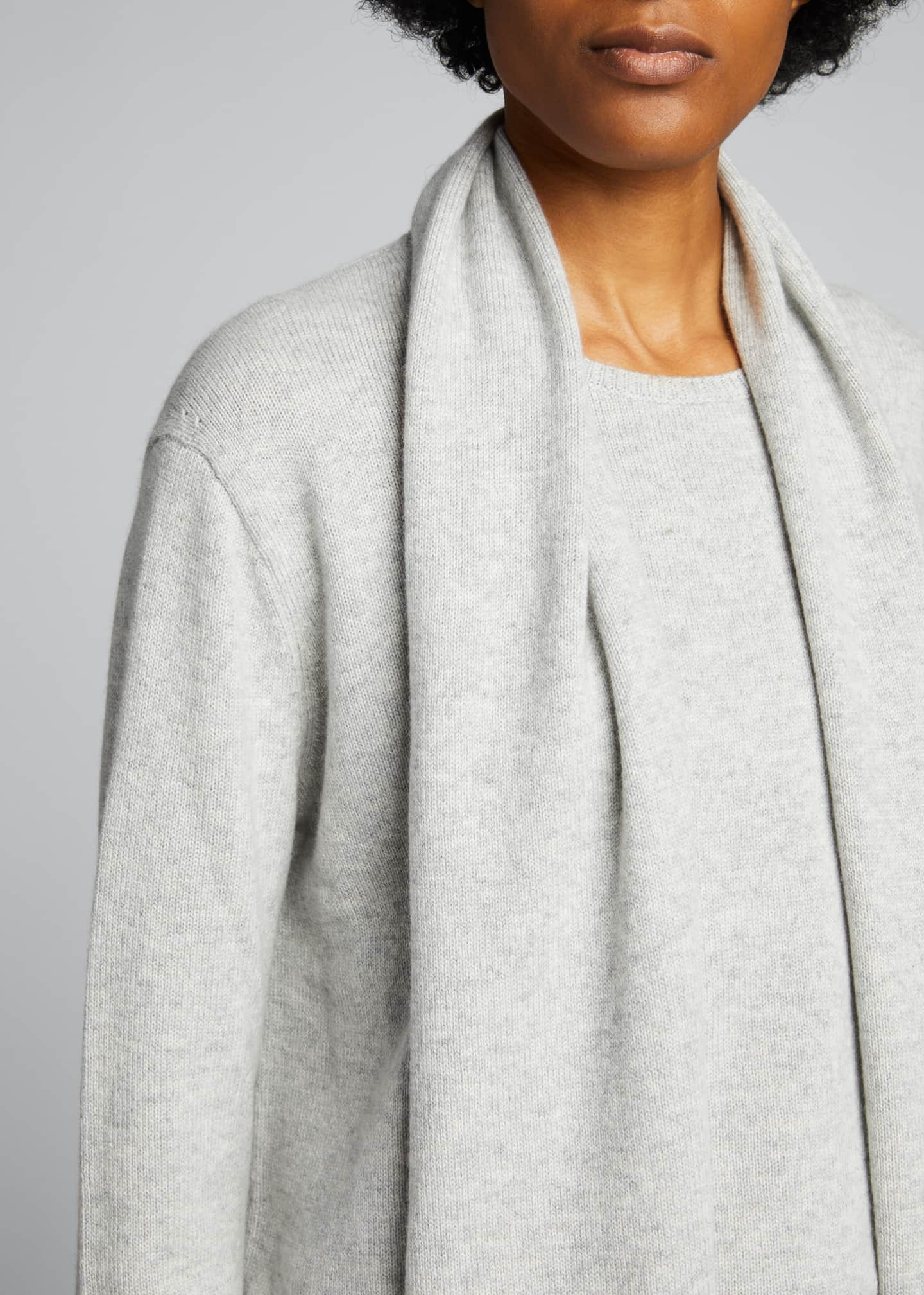 Image 4 of 5: Cashmere Crewneck Sweater with Detachable Scarf