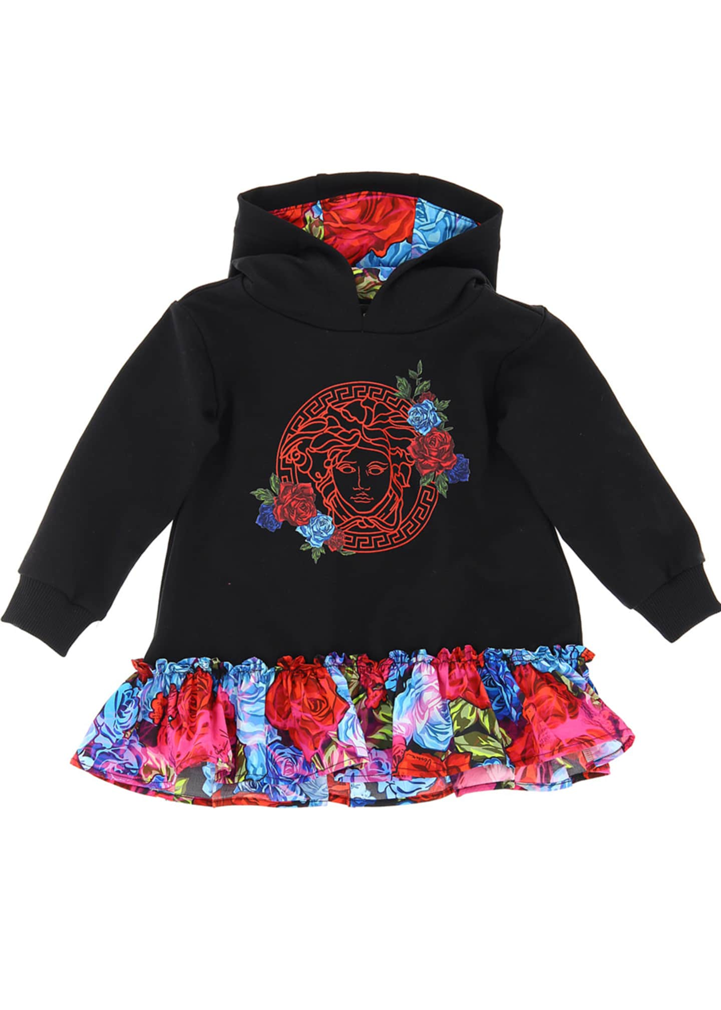 Image 1 of 1: Girl's Medusa Hoodie Combo Dress w/ Floral Skirt, Size 12-36 Months