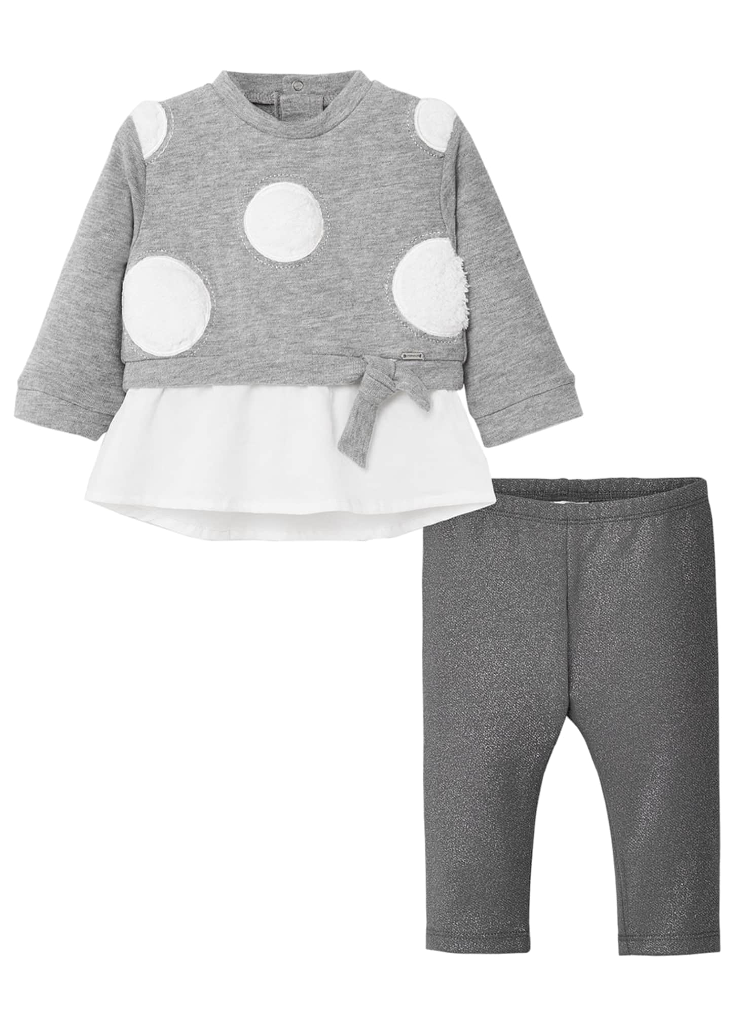 Image 1 of 1: Girl's Two-Piece Polka Dot Outfit Set, Size 12-36 Months