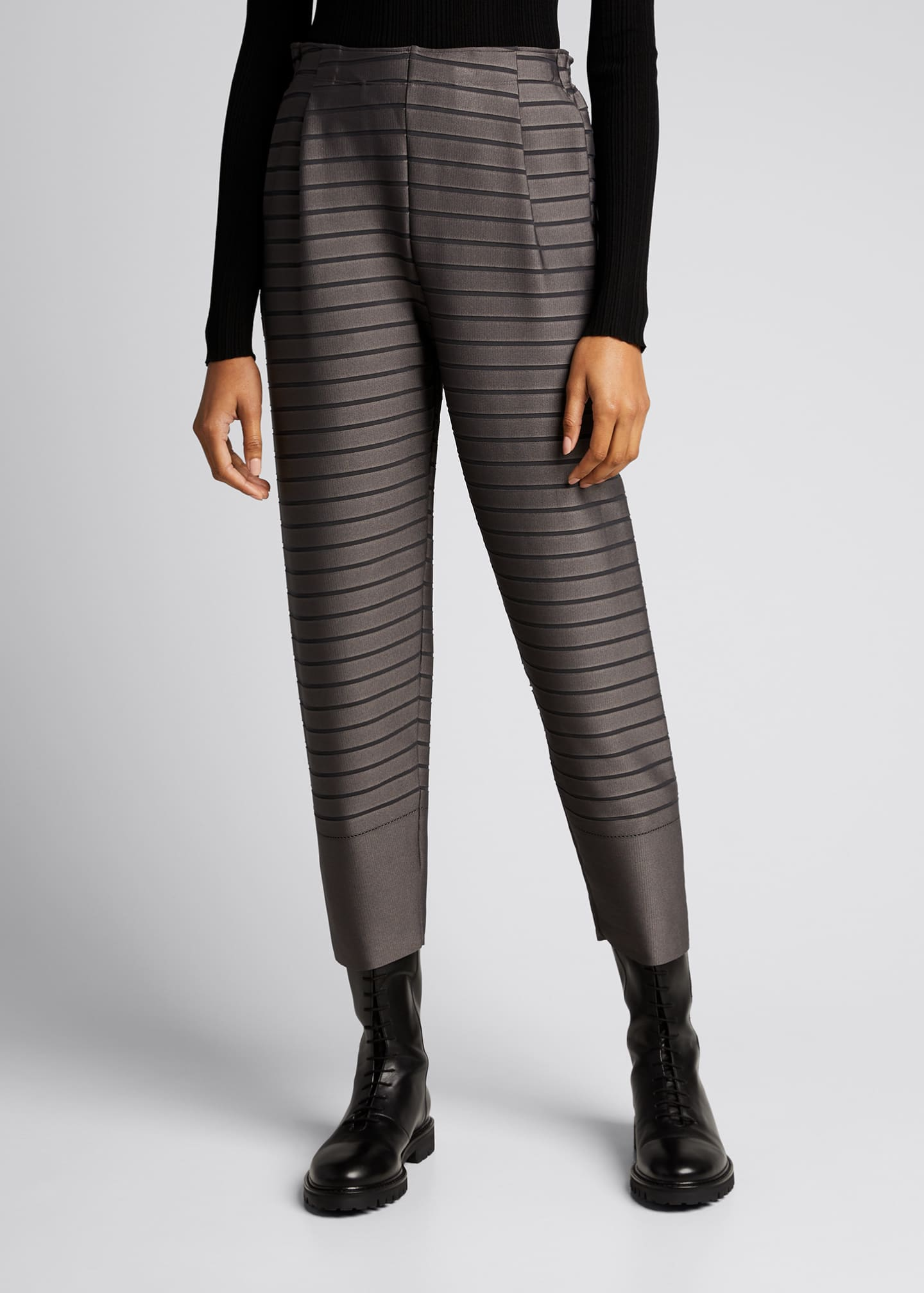 Image 3 of 5: Stripe Cropped Trousers