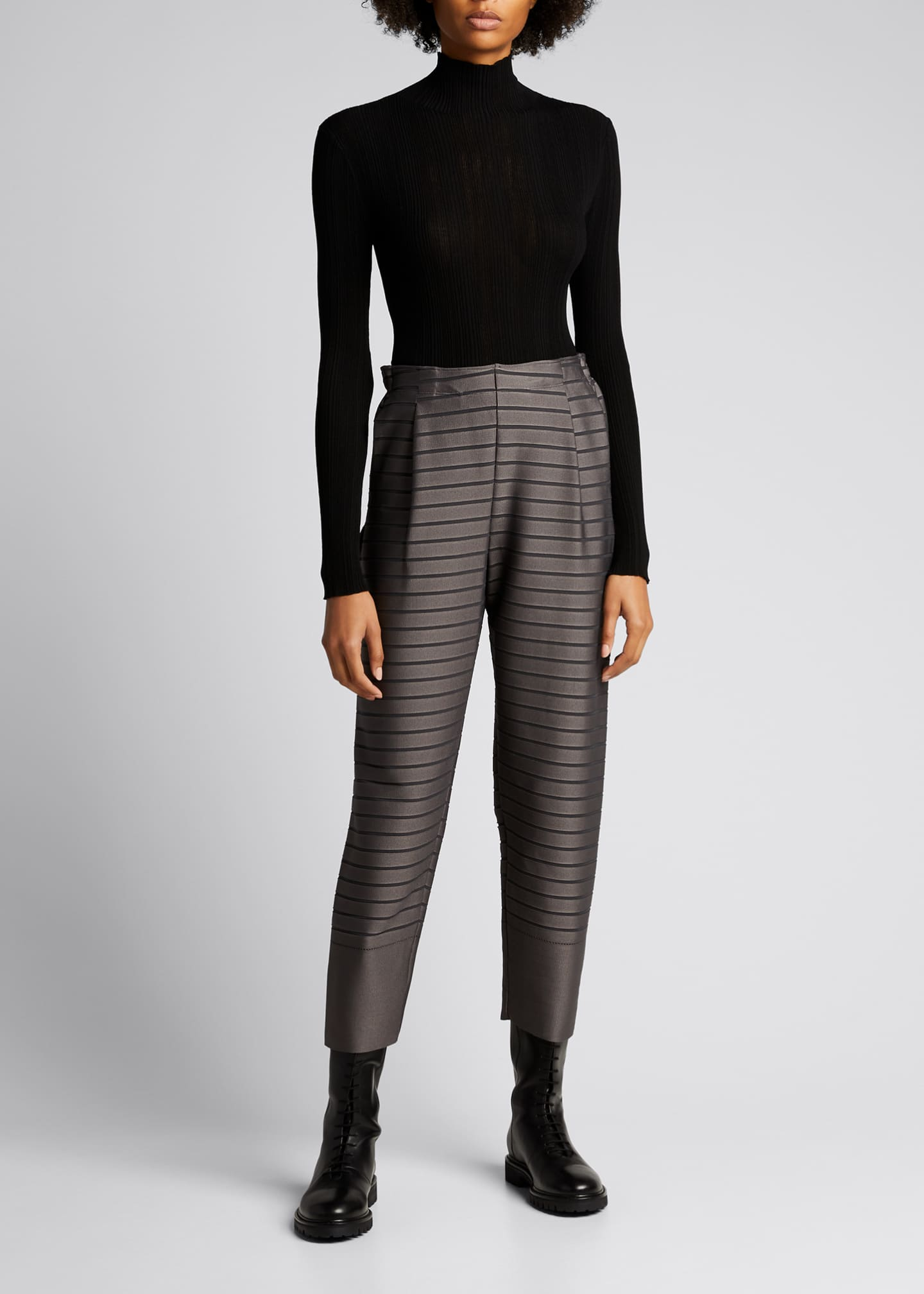 Image 1 of 5: Stripe Cropped Trousers