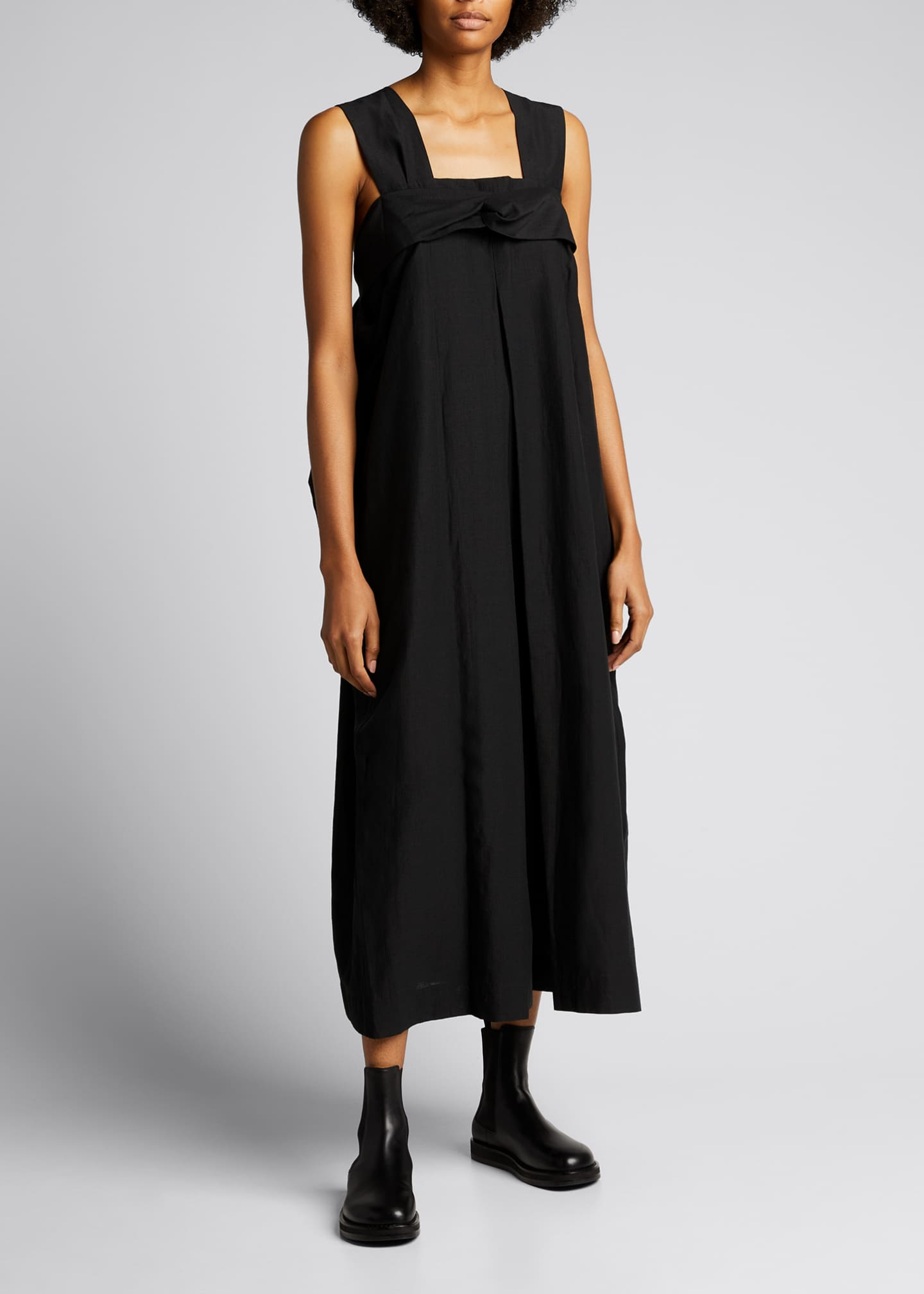 Image 1 of 5: Paper-Like Tricot Wide-Leg Jumpsuit
