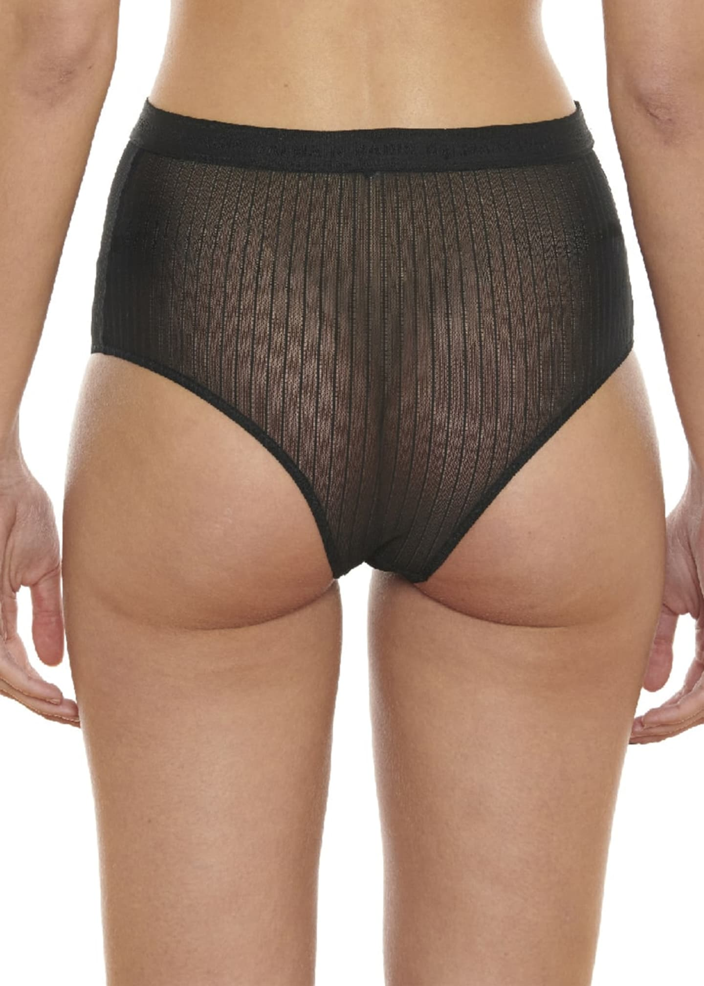 Image 2 of 2: Pinstriped Tulle Briefs
