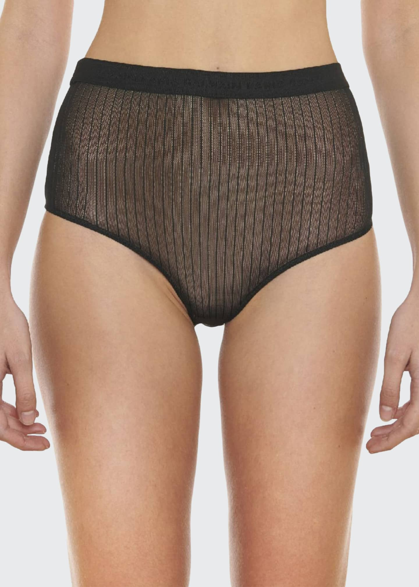 Image 1 of 2: Pinstriped Tulle Briefs