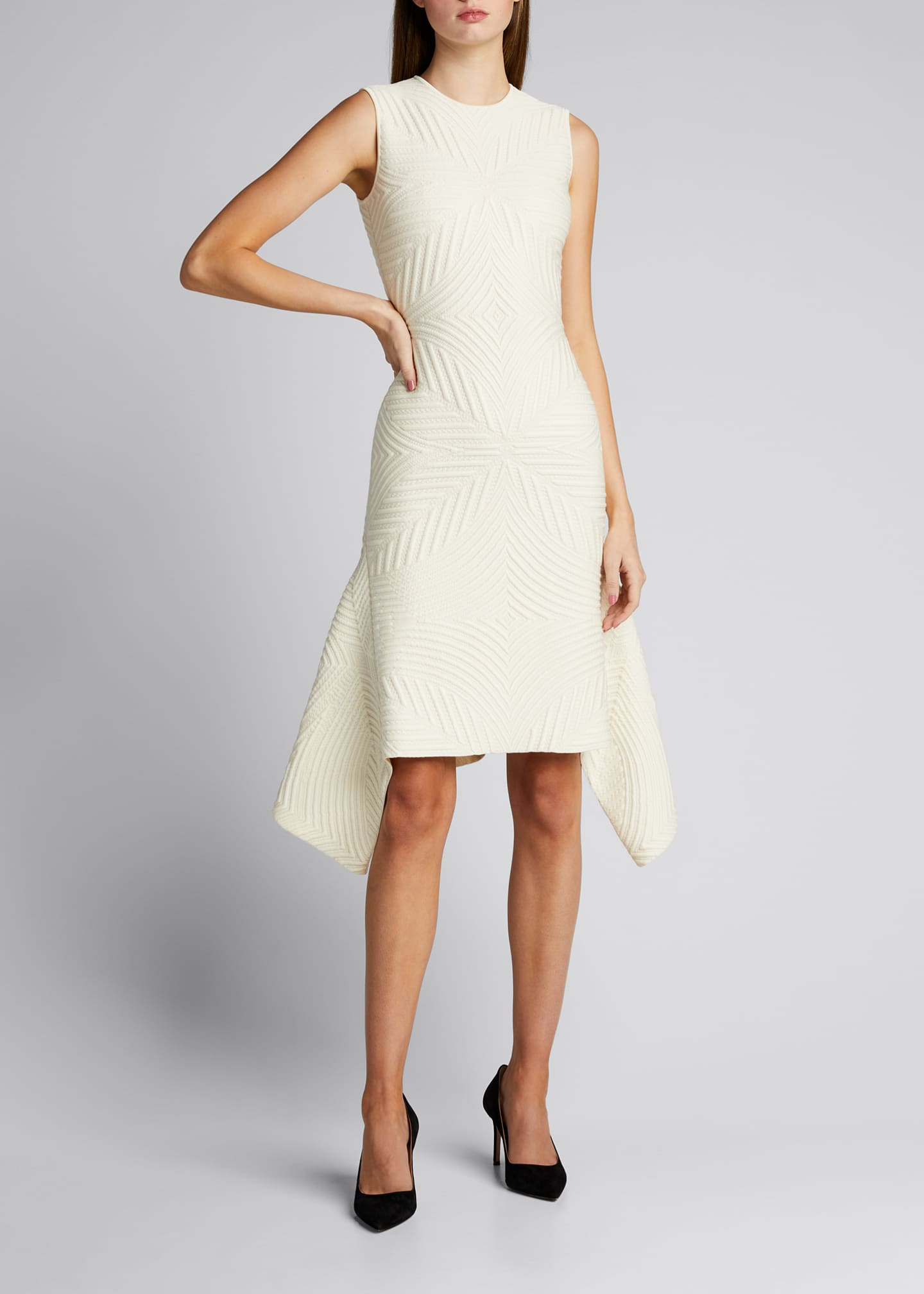 Image 3 of 5: Textured Asymmetric Wool-Blend Dress