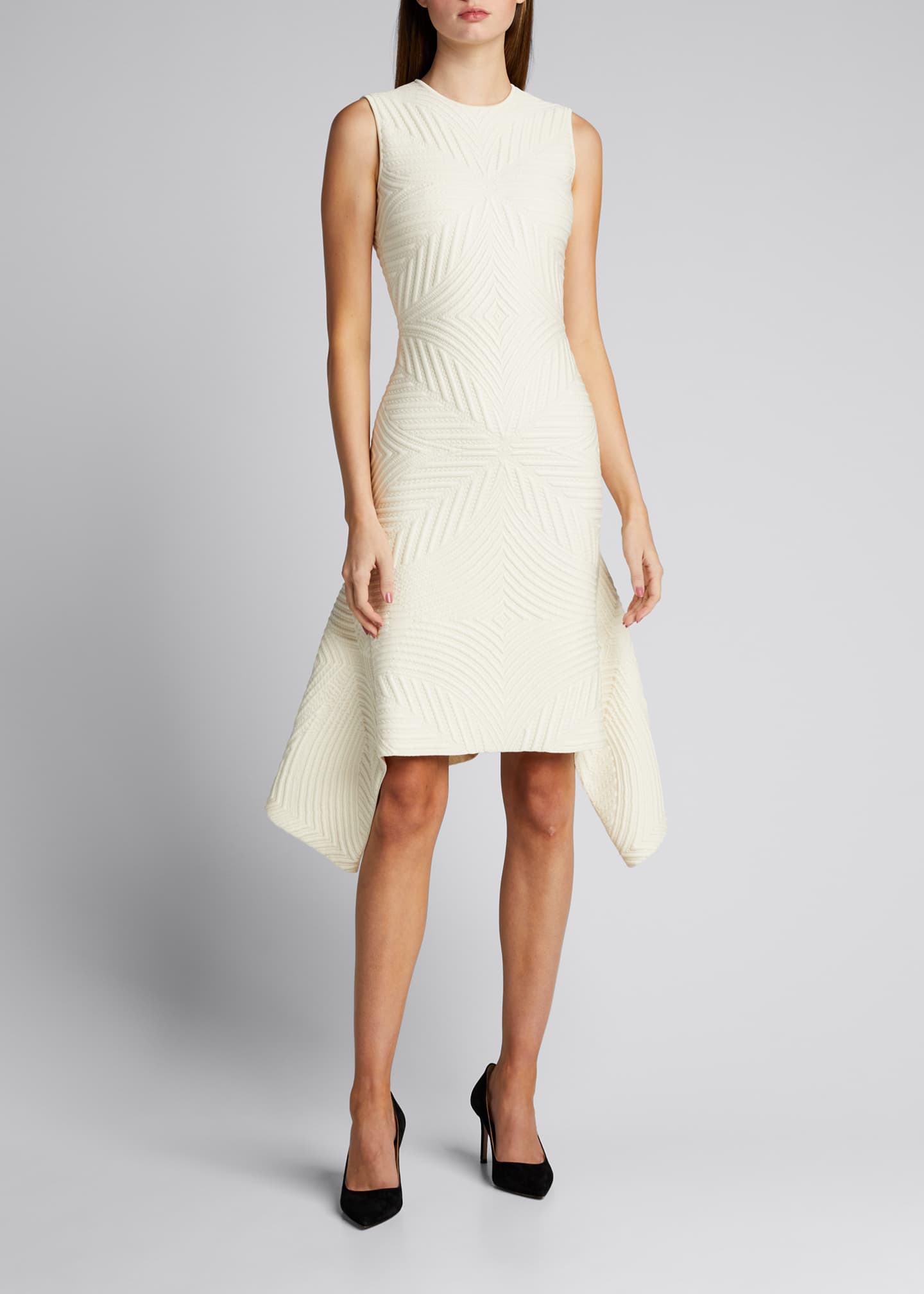 Textured Asymmetric Wool-Blend Dress