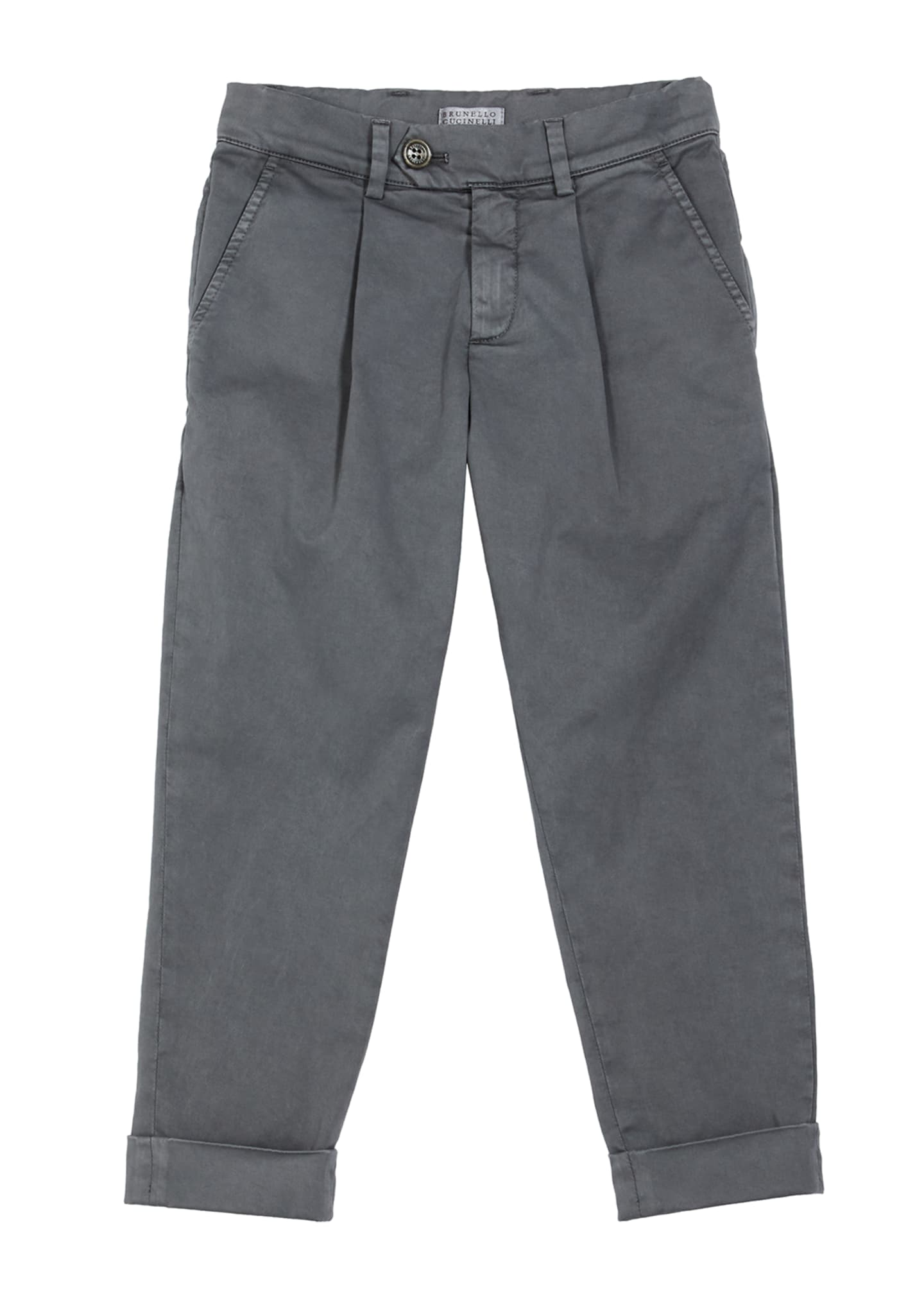Image 1 of 2: Boy's Cotton Twill Pleated Chinos, Size 4-6