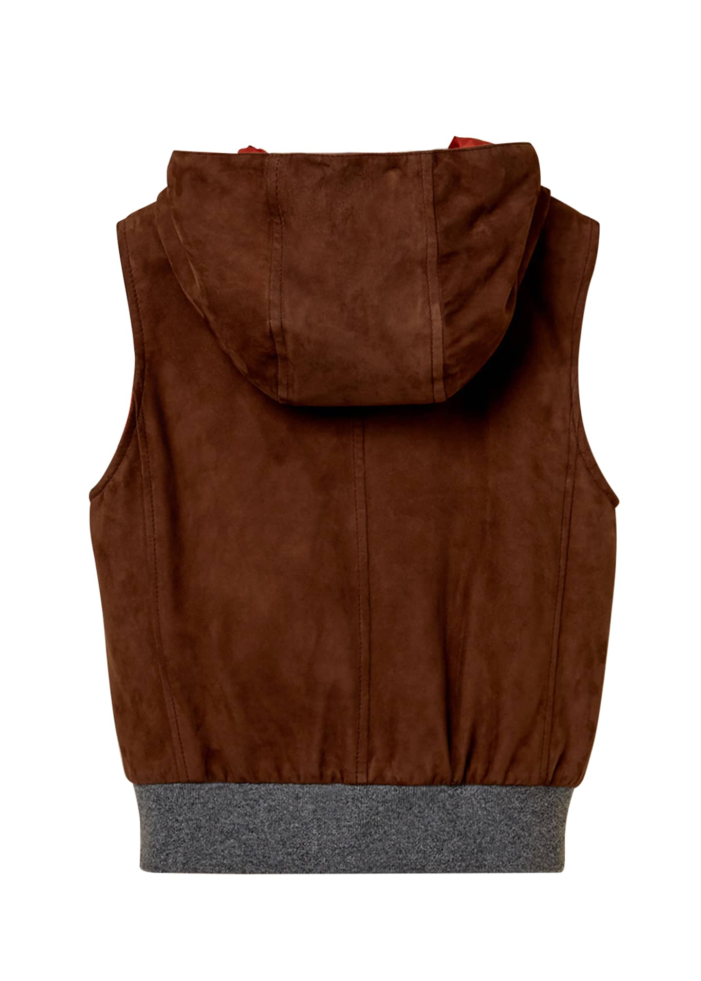 Image 2 of 3: Boy's Zip-Front Hooded Reversible Suede Vest, Size 8-10