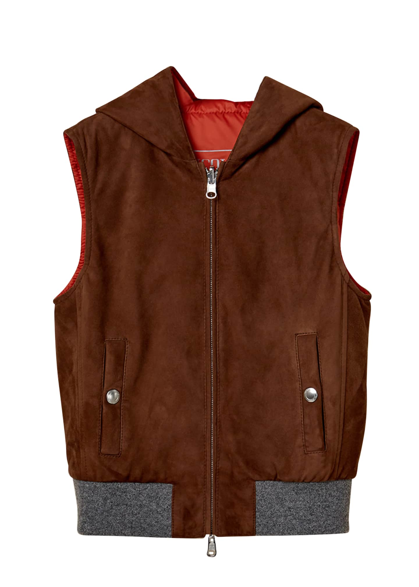 Image 1 of 3: Boy's Zip-Front Hooded Reversible Suede Vest, Size 8-10