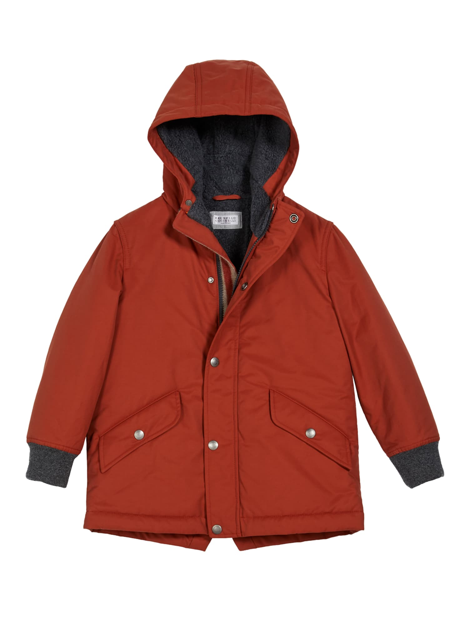 Image 1 of 1: Boy's Cotton-Nylon Hooded Parka, Size 8-10