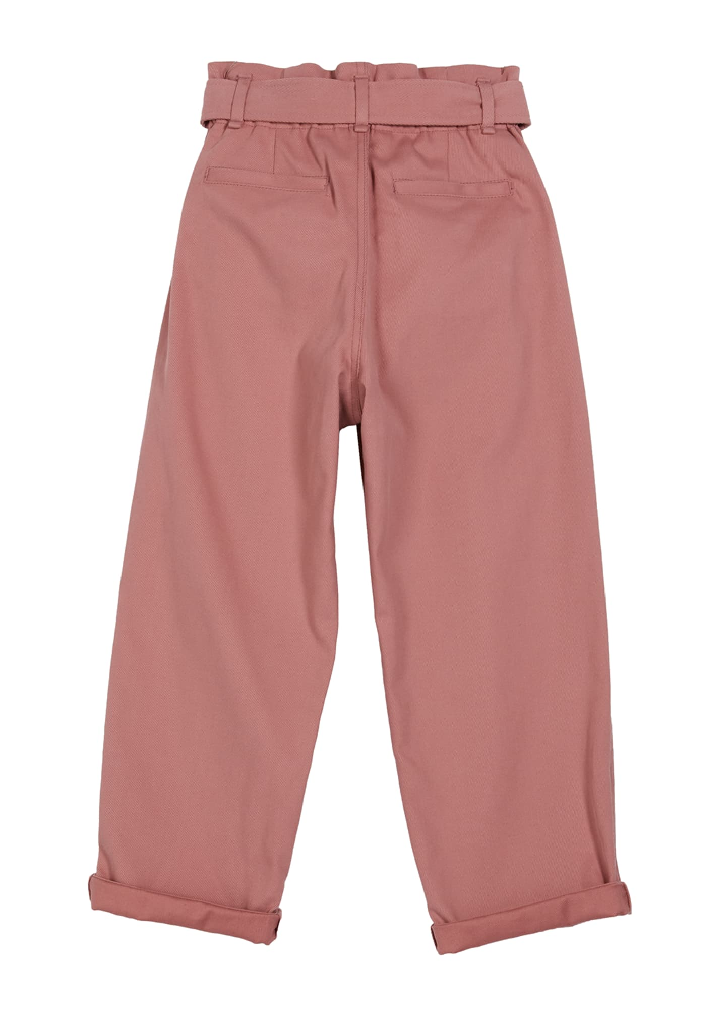 Image 2 of 2: Girl's Cotton Gabardine Pleated Pants w/ Self-Belt, Size 12-14