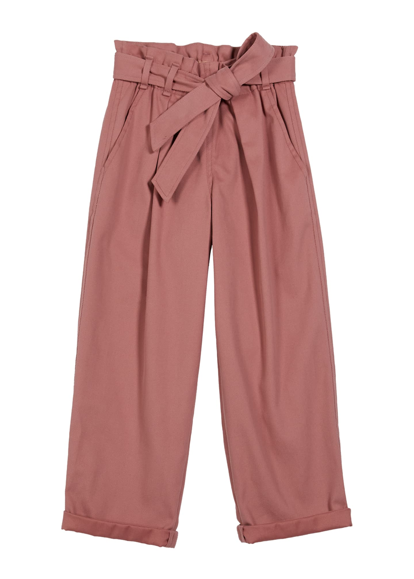 Image 1 of 2: Girl's Cotton Gabardine Pleated Pants w/ Self-Belt, Size 12-14