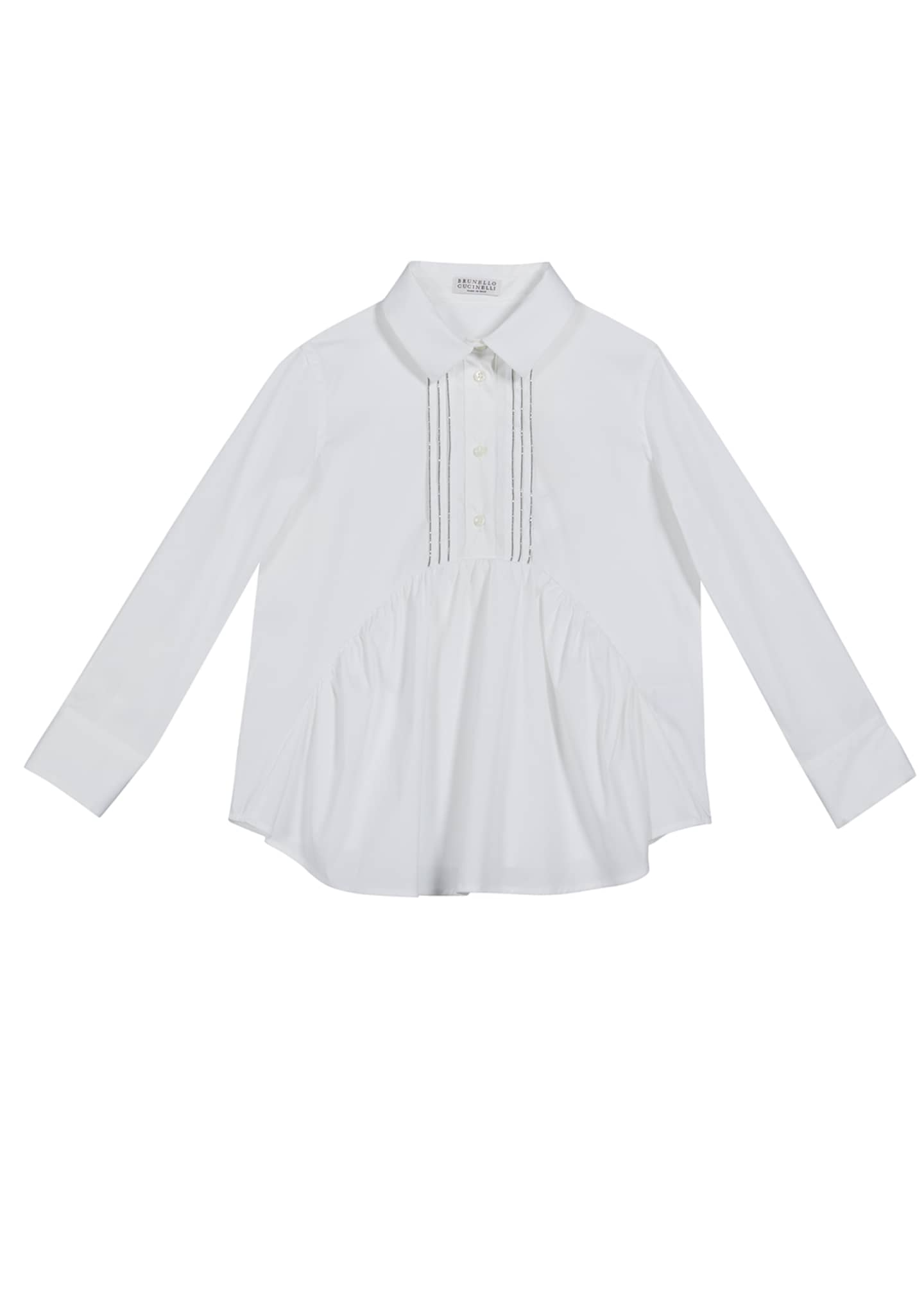 Image 1 of 1: Girl's Ruffle-Front Poplin Blouse with Monili Placket, Size 12-14