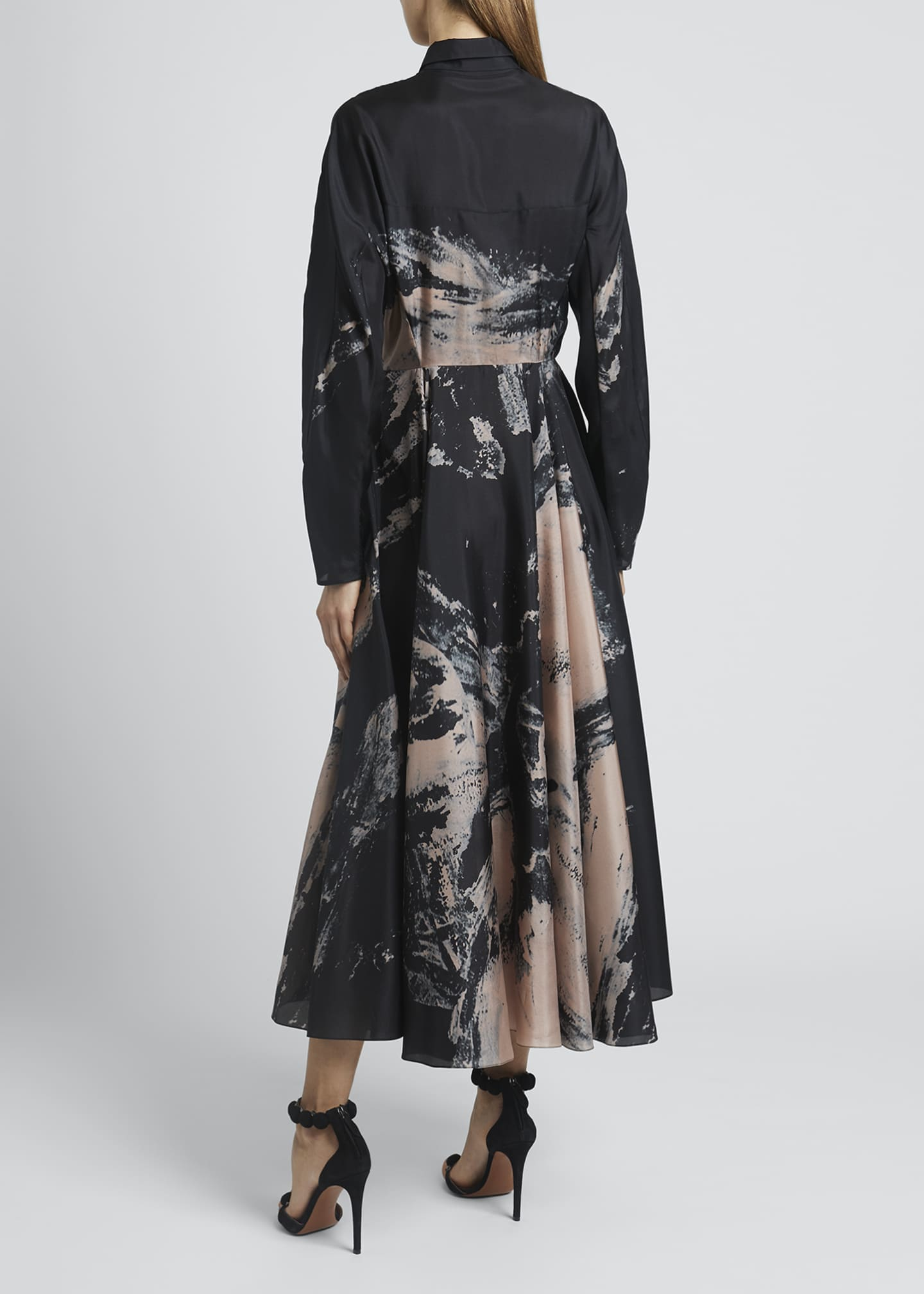 Image 2 of 4: Abstract Fit-&-Flare Silk Dress