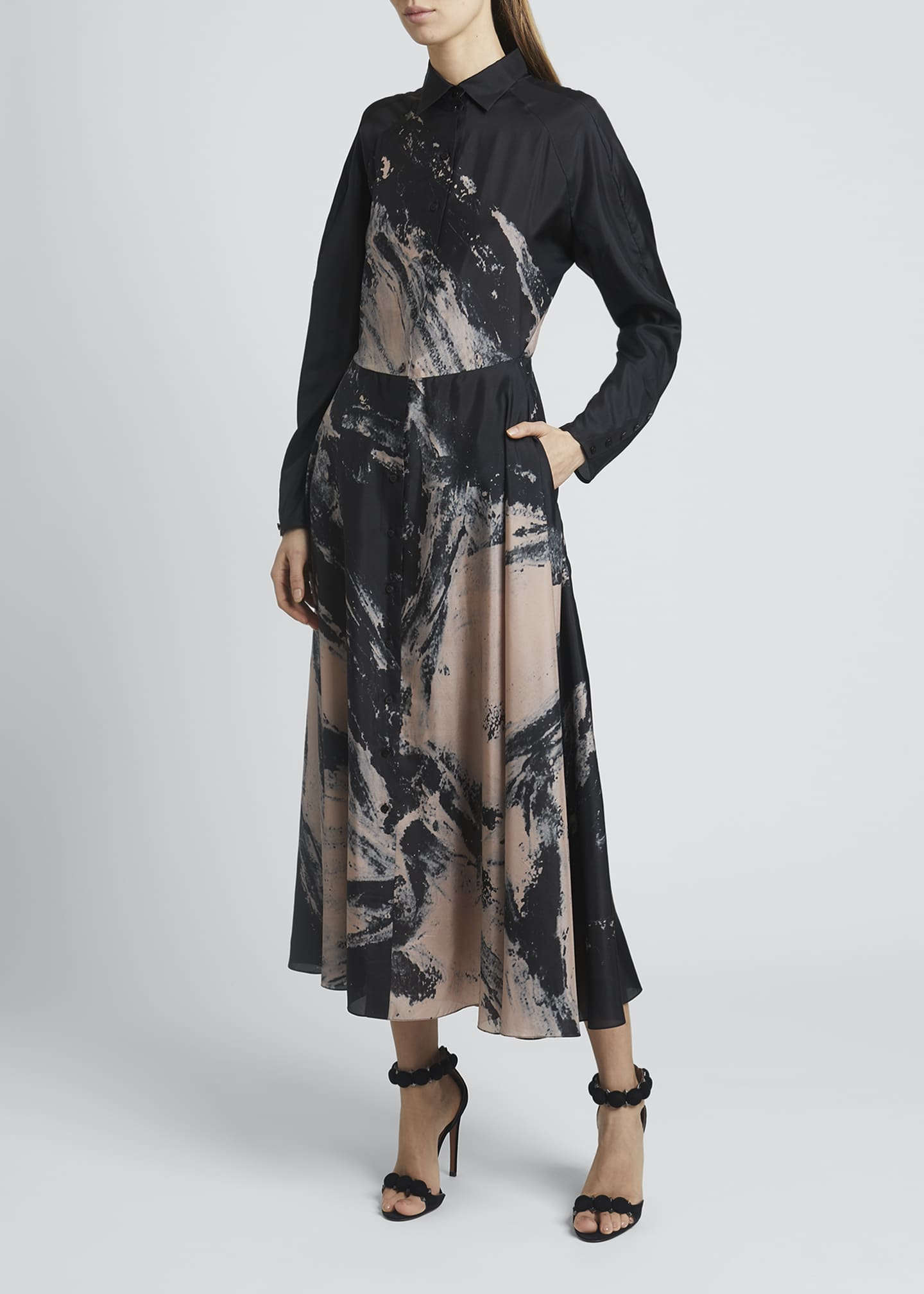 Image 3 of 4: Abstract Fit-&-Flare Silk Dress
