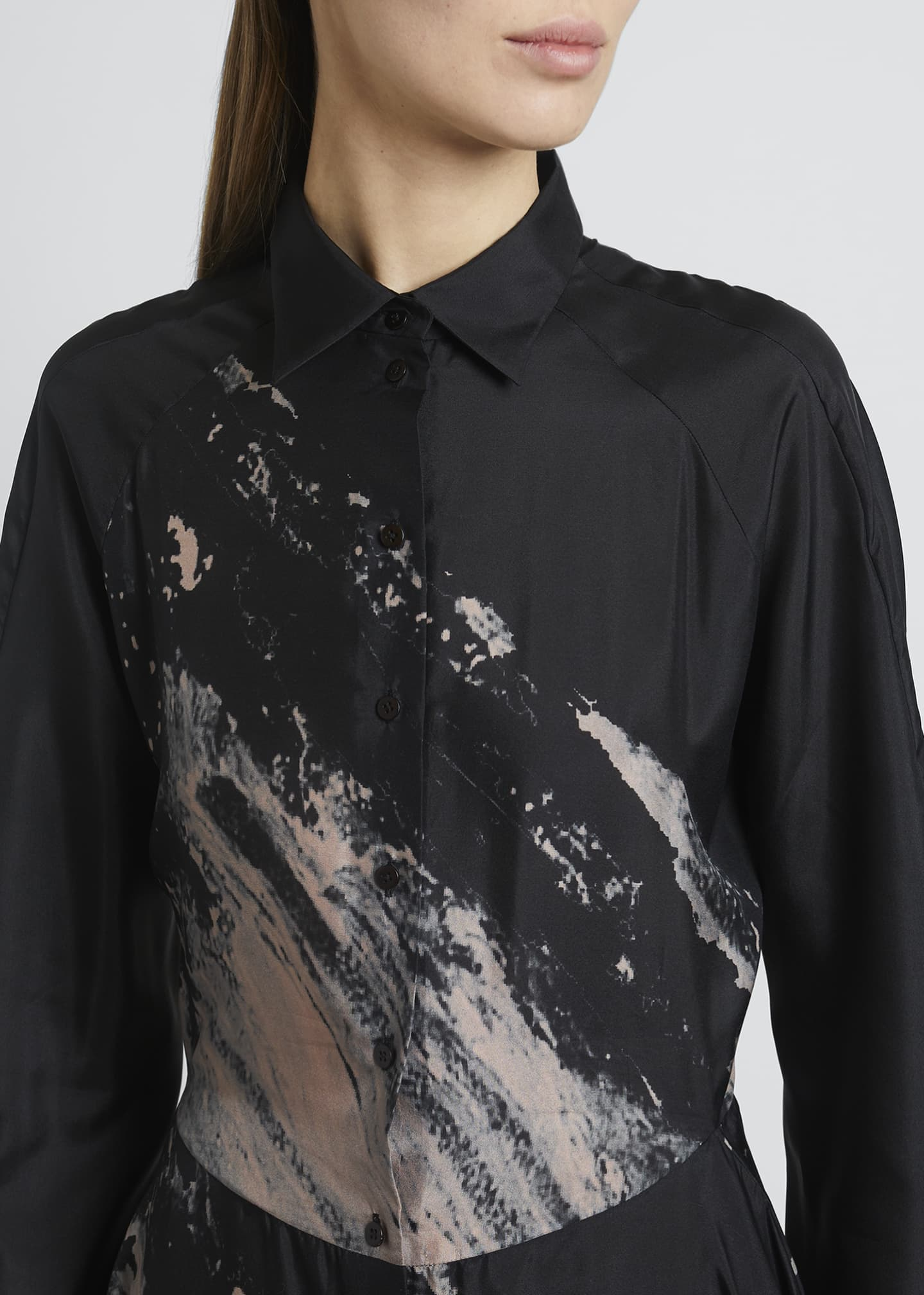 Image 4 of 4: Abstract Fit-&-Flare Silk Dress
