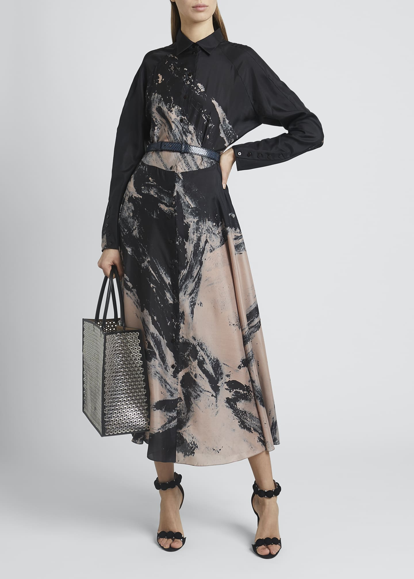 Image 1 of 4: Abstract Fit-&-Flare Silk Dress