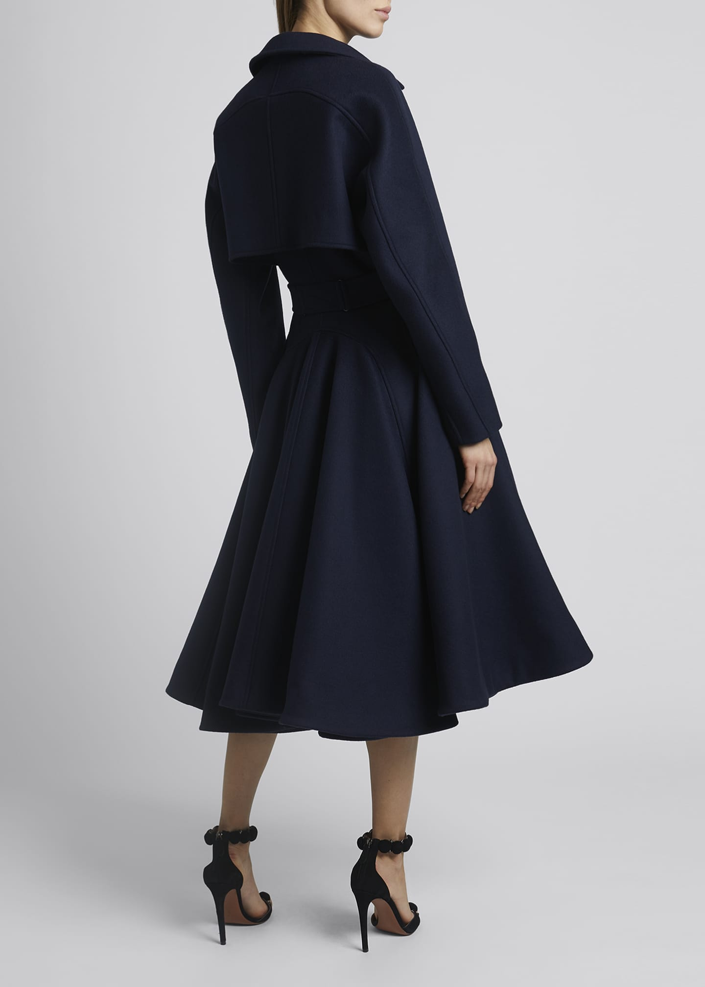 Image 2 of 3: Belted Wool Gabardine Cascading Back Trench Coat