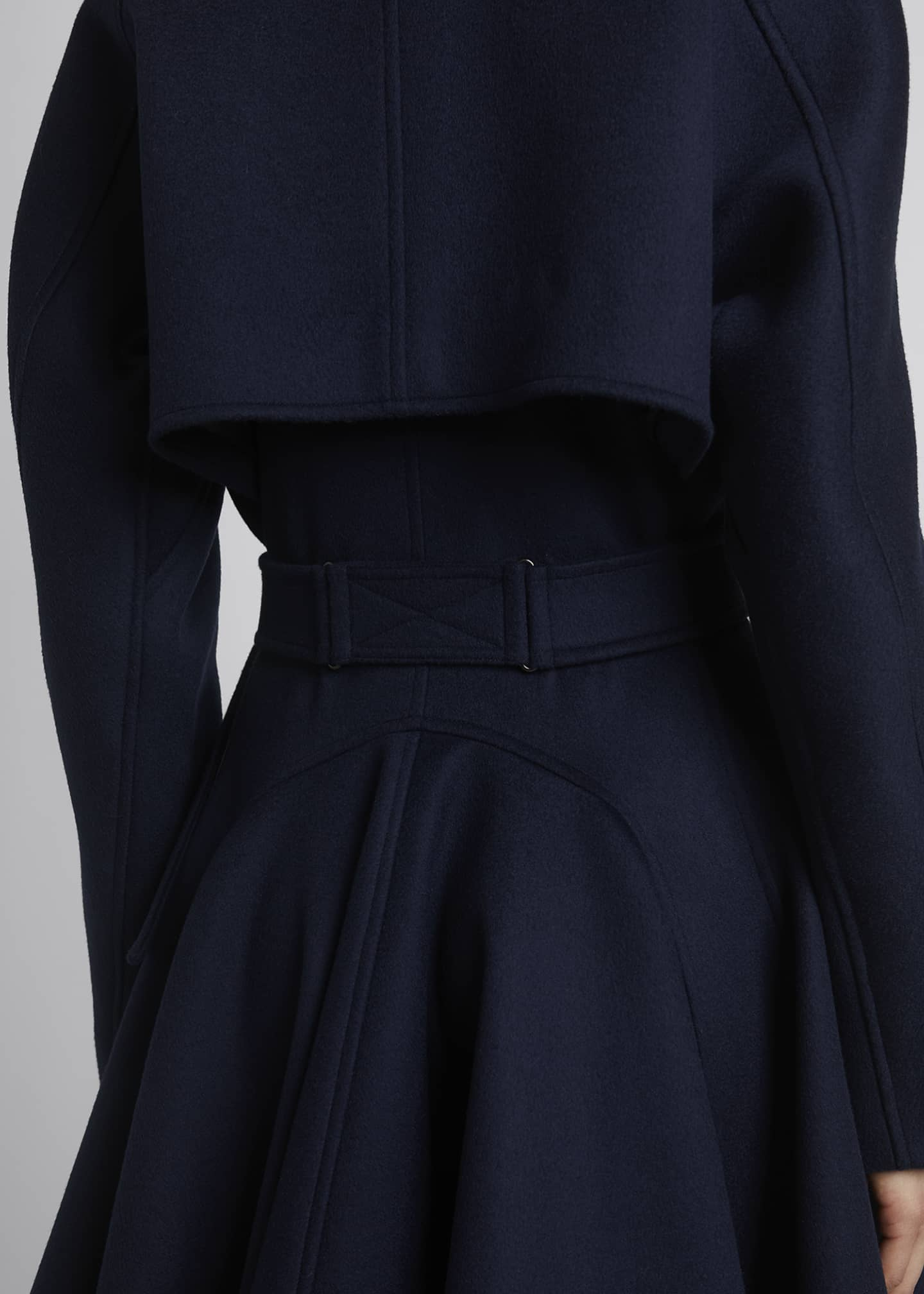 Image 3 of 3: Belted Wool Gabardine Cascading Back Trench Coat