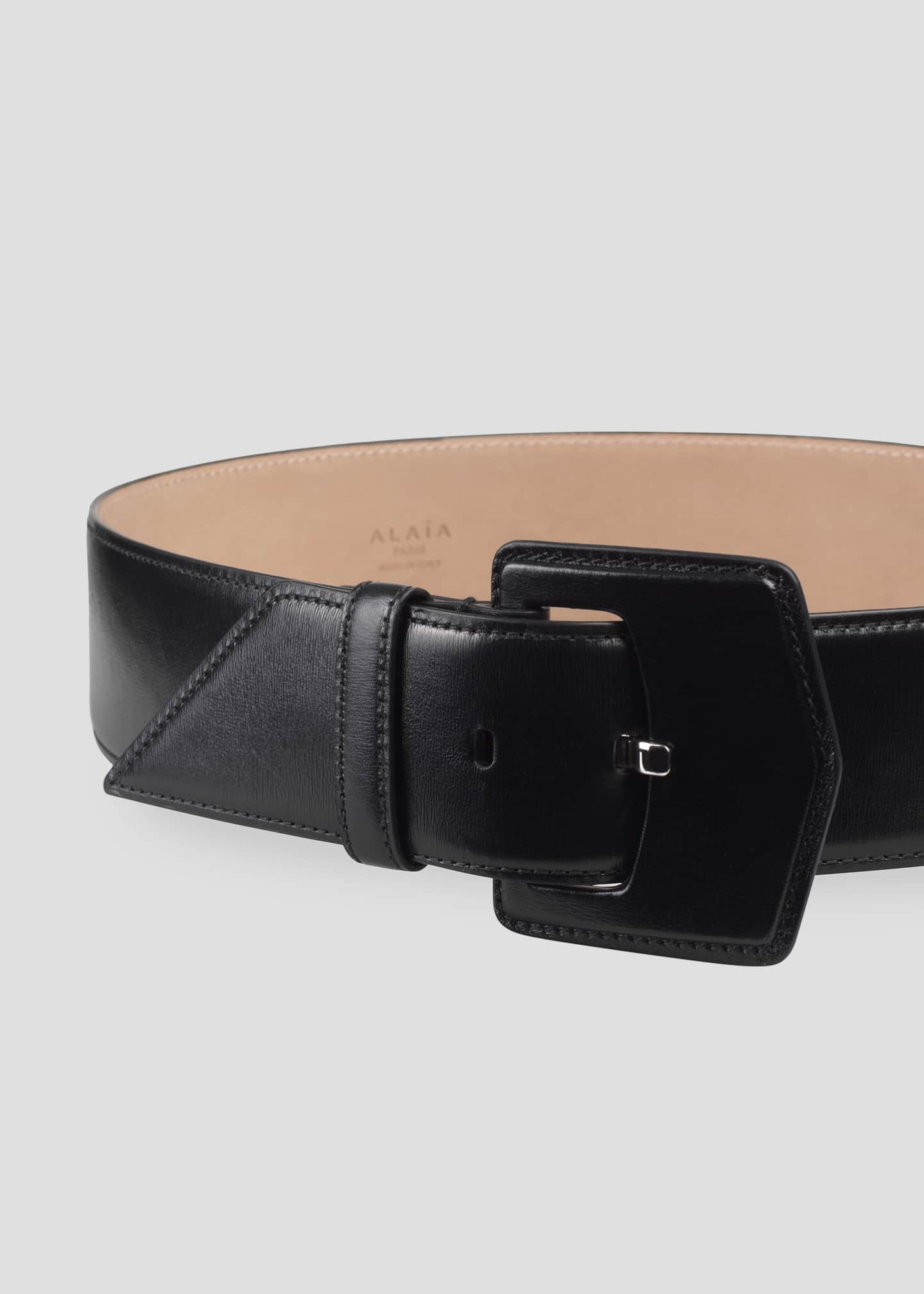Image 3 of 3: Geometric Buckle Leather Belt